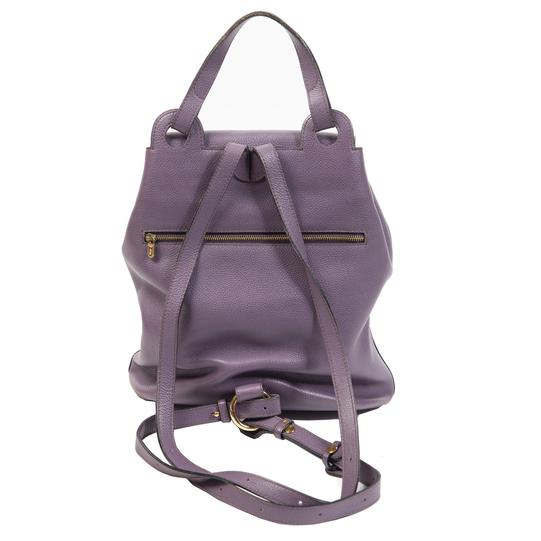 Authentieke Tweedehands Delvaux Lila Leather Soleil GM Backpack juiste prijs veilig online shoppen luxe merken webshop winkelen Antwerpen België mode fashion