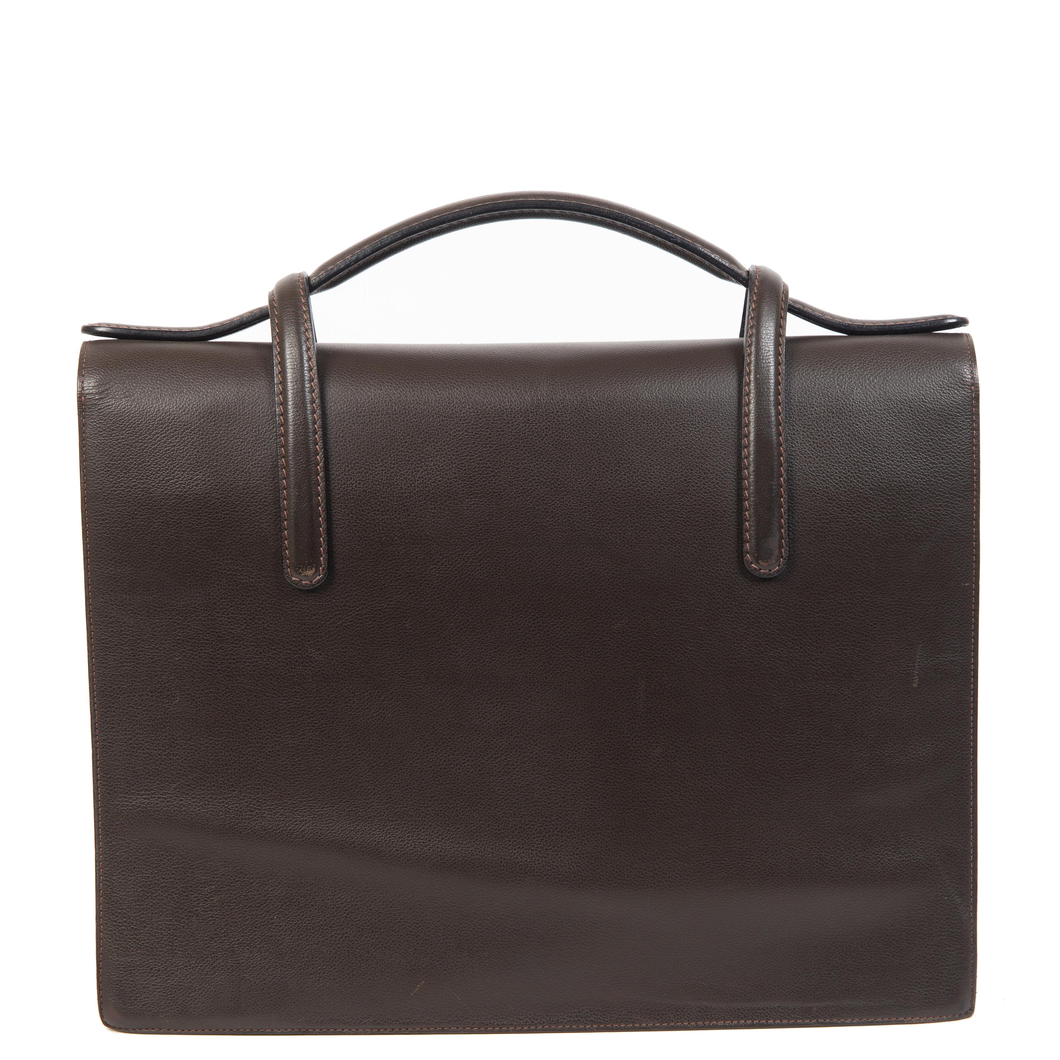 Authentieke Tweedehands Delvaux Dark Brown Briefcase juiste prijs veilig online shoppen luxe merken webshop winkelen Antwerpen België mode fashion