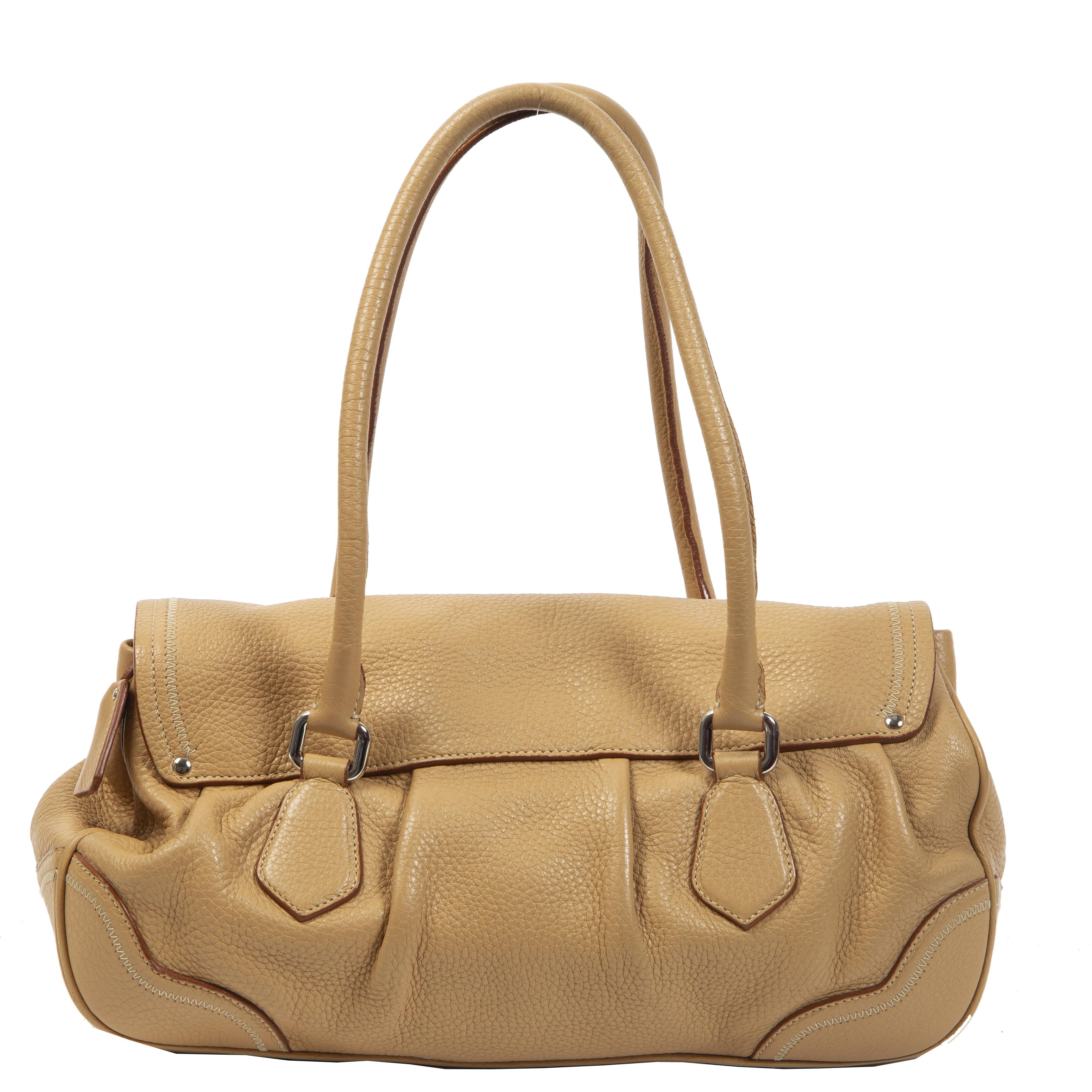 Authentieke Tweedehands Prada Leather Toffe Shoulder Bag juiste prijs veilig online shoppen luxe merken webshop winkelen Antwerpen België mode fashion