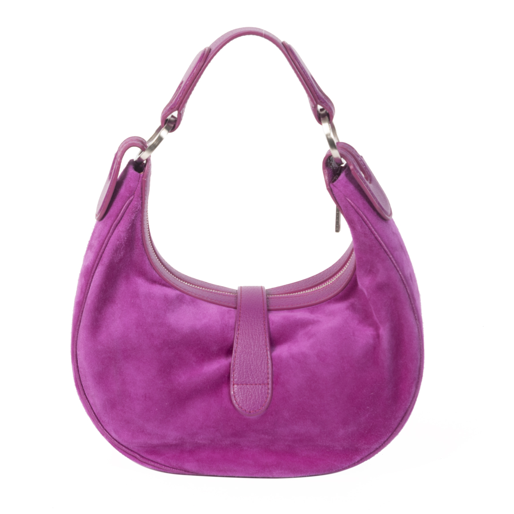 Authentic second-hand vintage Delvaux Camille XS Suede Fuchsia buy online webshop LabelLOV