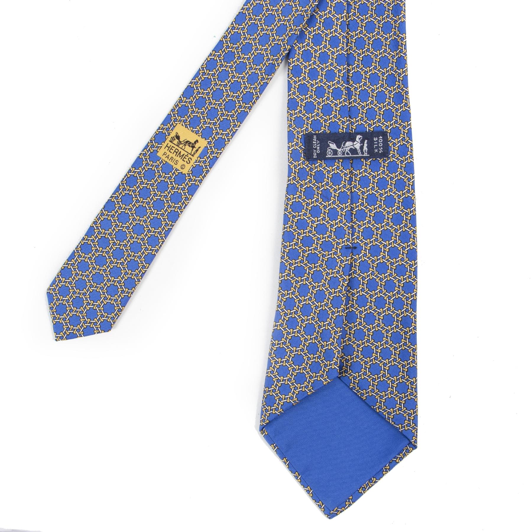 Authentieke Tweedehands Hermès Blue Decorated Tie juiste prijs veilig online shoppen luxe merken webshop winkelen Antwerpen België mode fashion