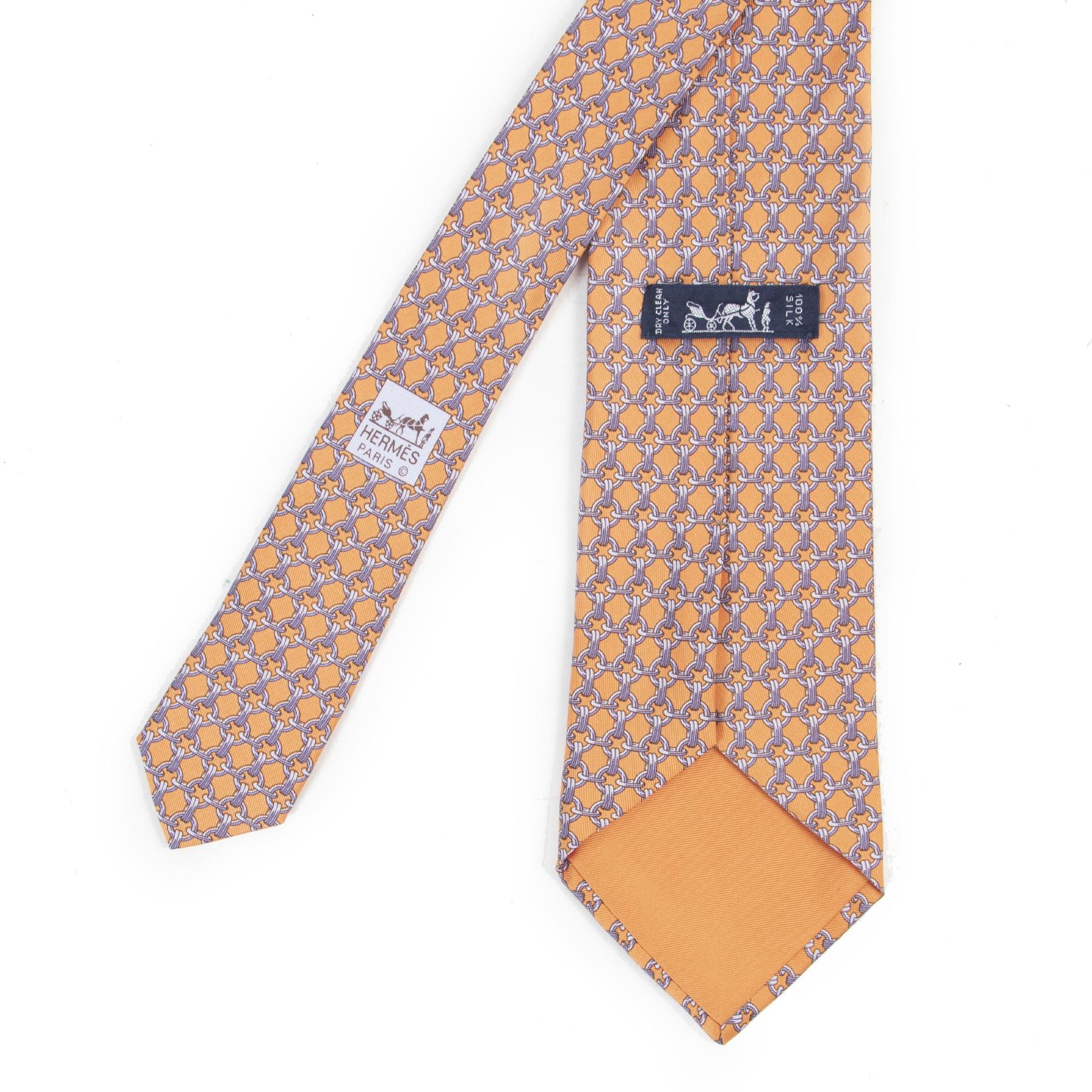 Authentieke Tweedehands Hermès Orange Chain Links Silk Tie juiste prijs veilig online shoppen luxe merken webshop winkelen Antwerpen België mode fashion