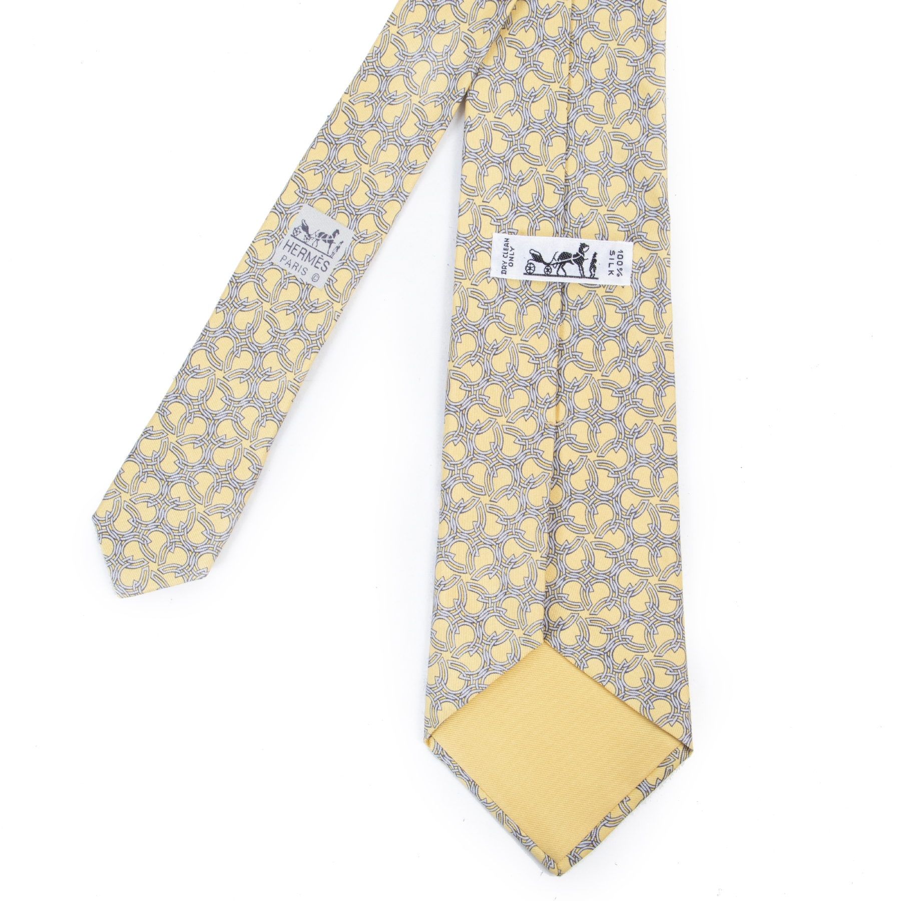 Hermès Yellow Horseshoe Silk Tie