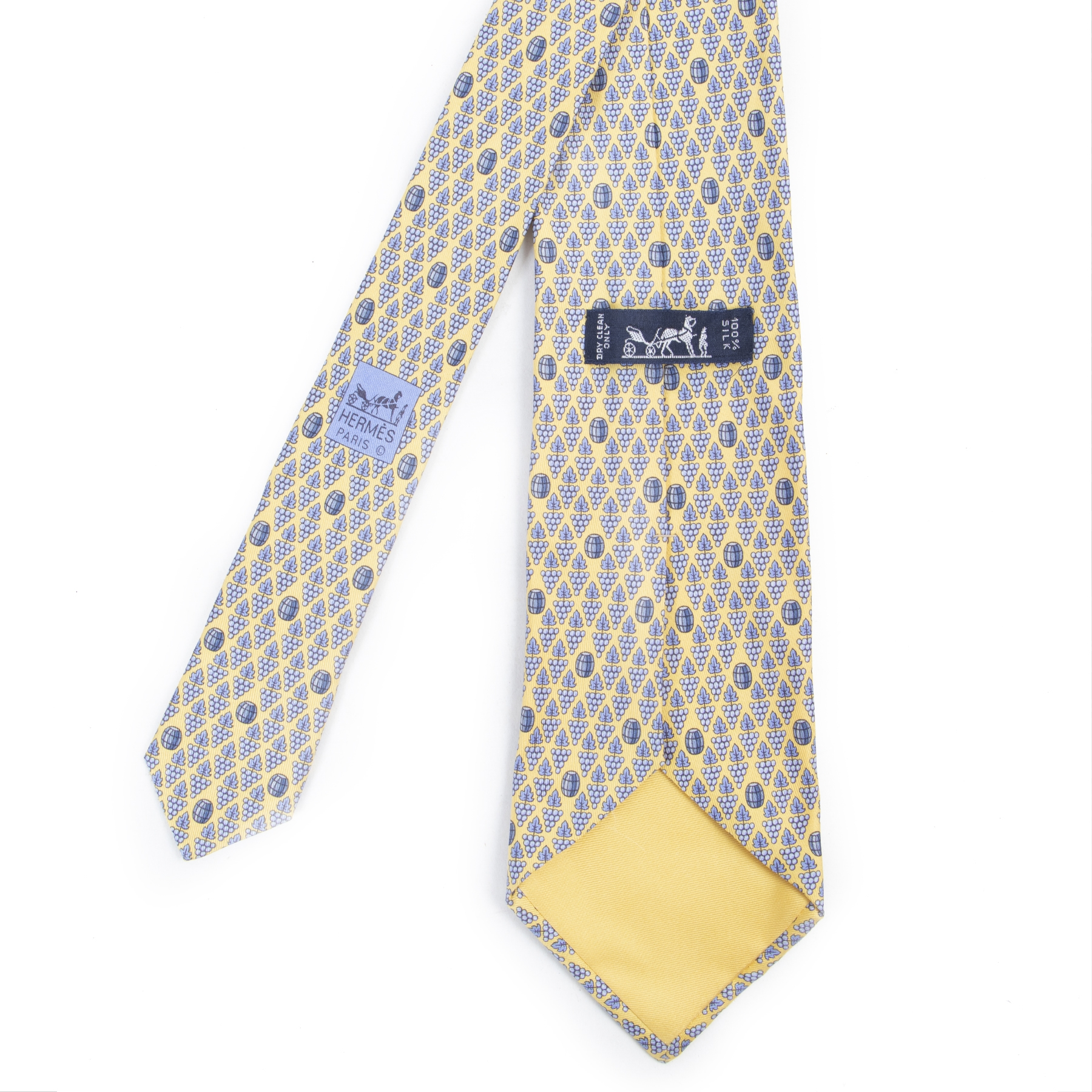 Authentic secondhand Hermès Yellow Blue Pattern Silk Tie designer accessories fashion luxury vintage webshop safe secure online shopping