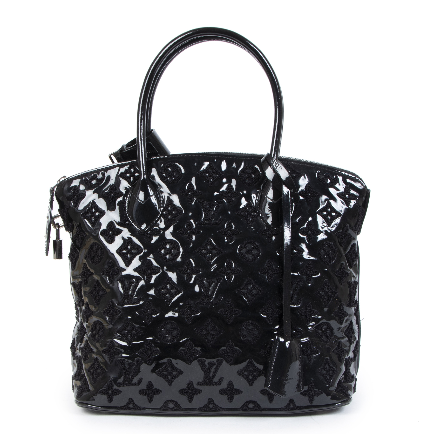 Authentieke tweedehands vintage Louis Vuitton Black Patent Leather Fascination Lock It Bag koop online webshop LabelLOV