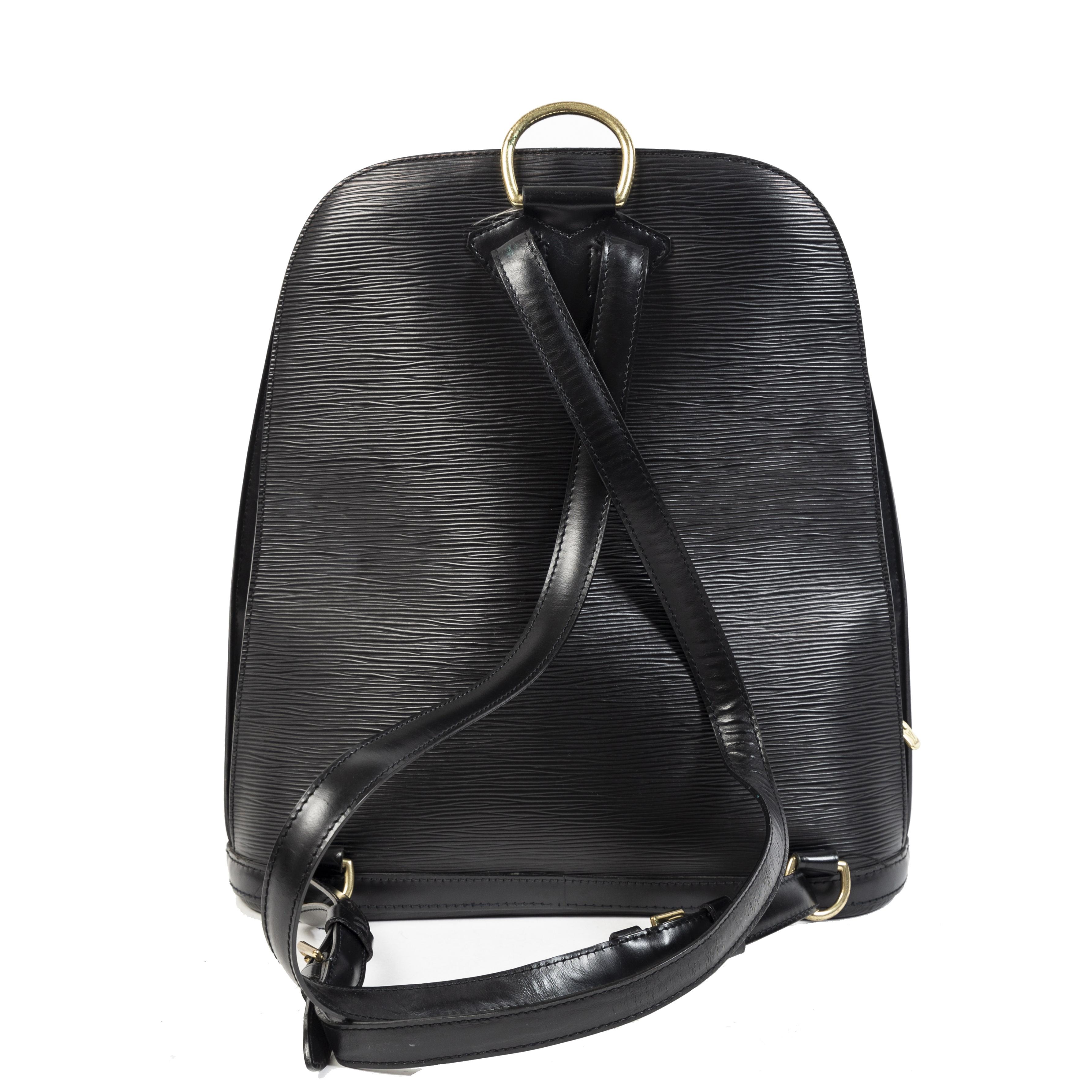 Authentieke Tweedehands Louis Vuitton Black Epi Leather Gobelins Backpack juiste prijs veilig online shoppen luxe merken webshop winkelen Antwerpen België mode fashion