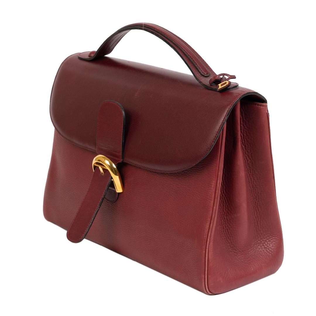 Authentieke Tweedehands Delvaux Burgundy Brillant Briefcase juiste prijs veilig online shoppen luxe merken webshop winkelen Antwerpen België mode fashion