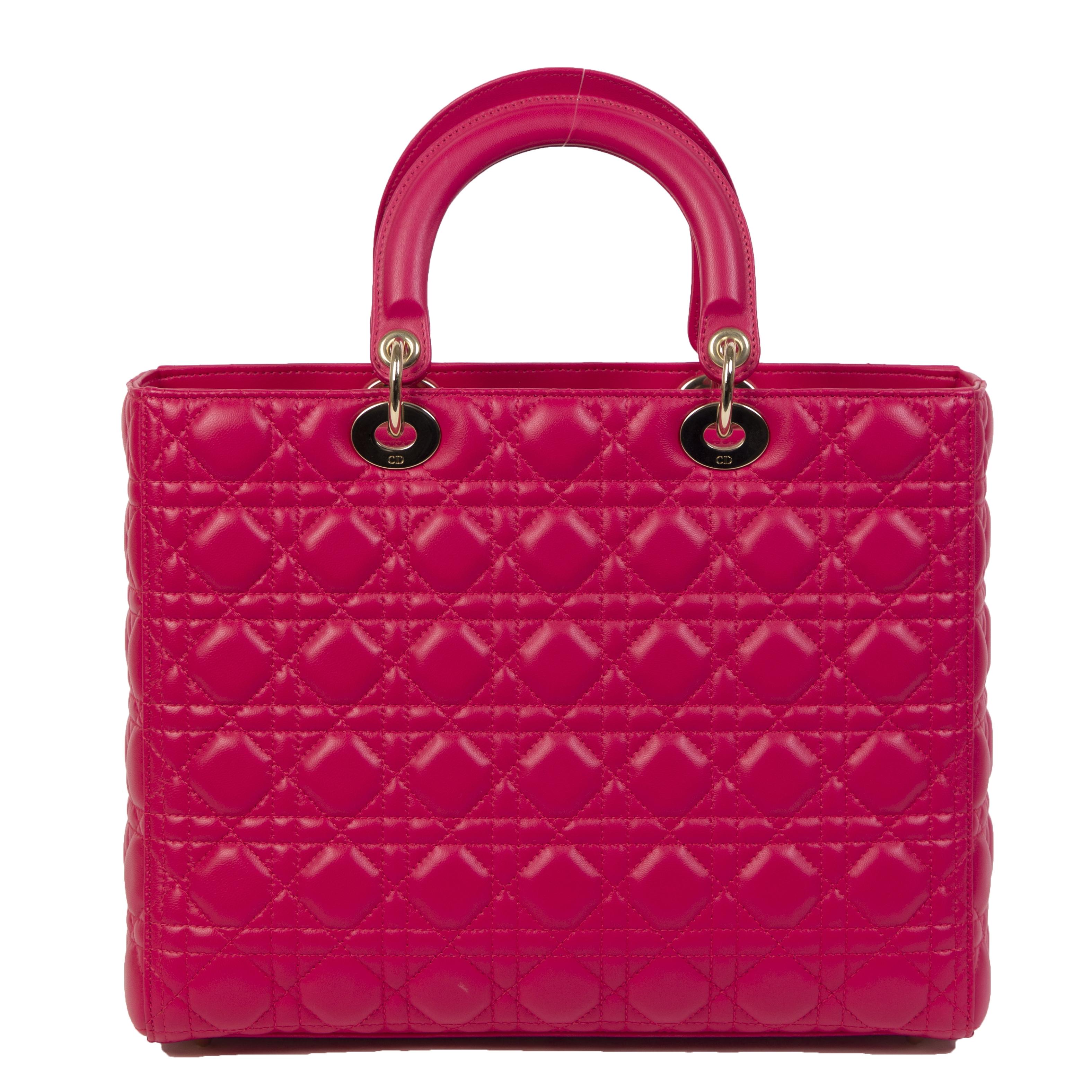 Authentieke Tweedehands Dior Lady Dior Lambskin Medium Tote Hot Pink juiste prijs veilig online shoppen luxe merken webshop winkelen Antwerpen België mode fashion