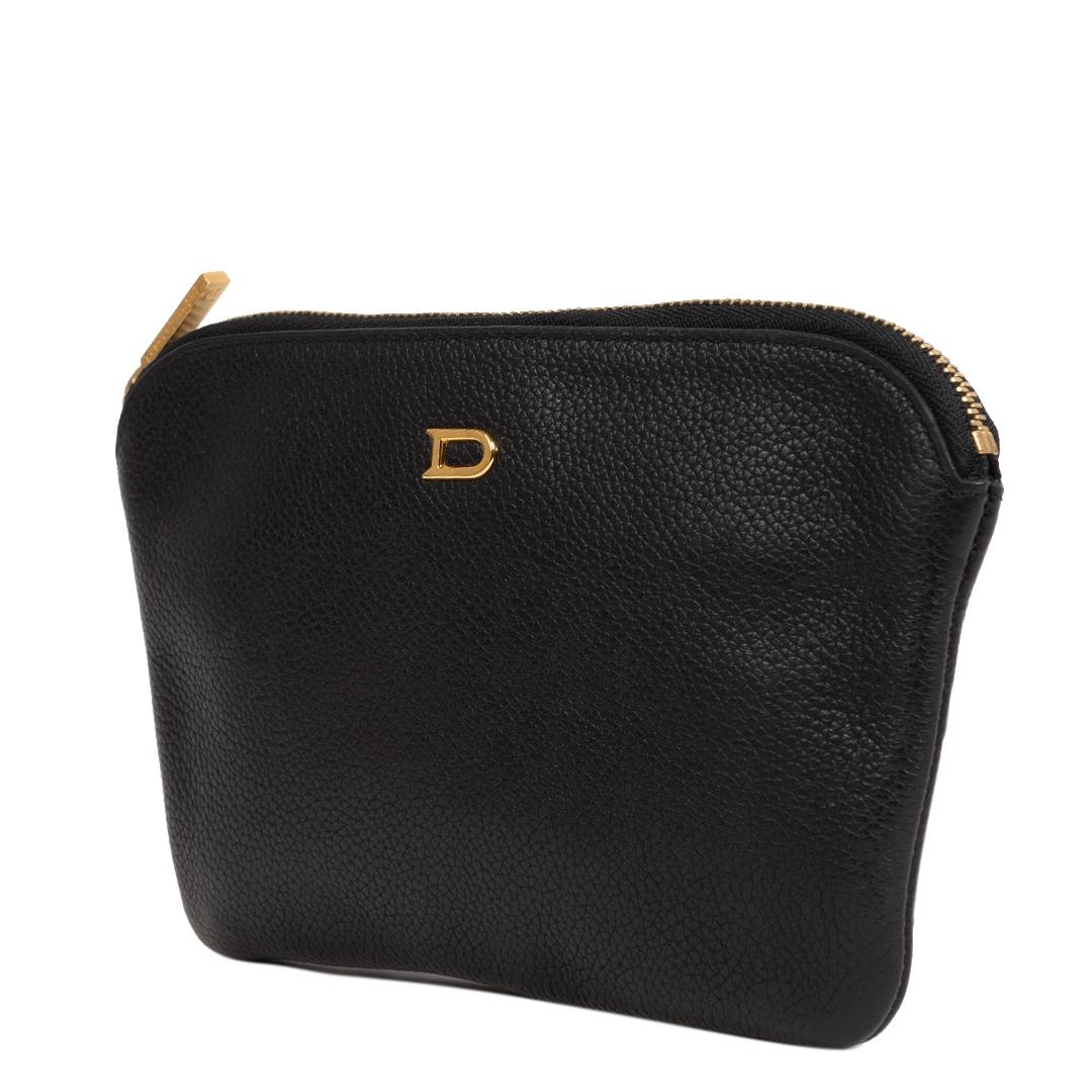 Authentieke Tweedehands Delvaux Black Leather Pouch juiste prijs veilig online shoppen luxe merken webshop winkelen Antwerpen België mode fashion