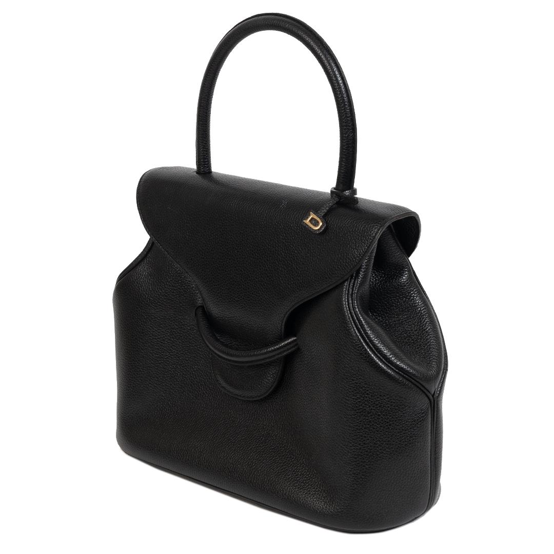 Authentieke Tweedehands Delvaux Black Leather Top Handle Bag juiste prijs veilig online shoppen luxe merken webshop winkelen Antwerpen België mode fashion