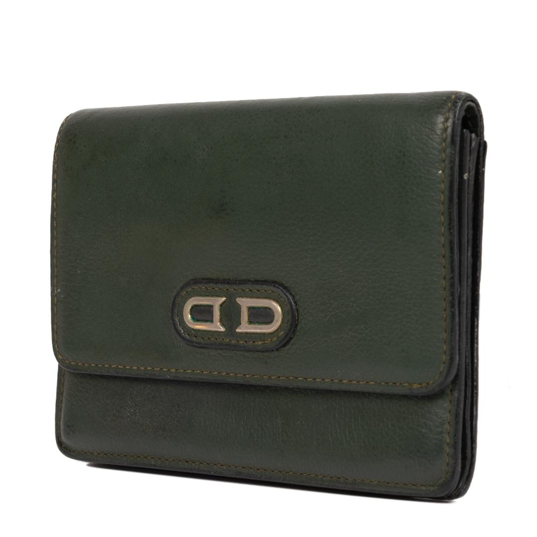 Authentieke Tweedehands Delvaux Green Leather Wallet juiste prijs veilig online shoppen luxe merken webshop winkelen Antwerpen België mode fashion