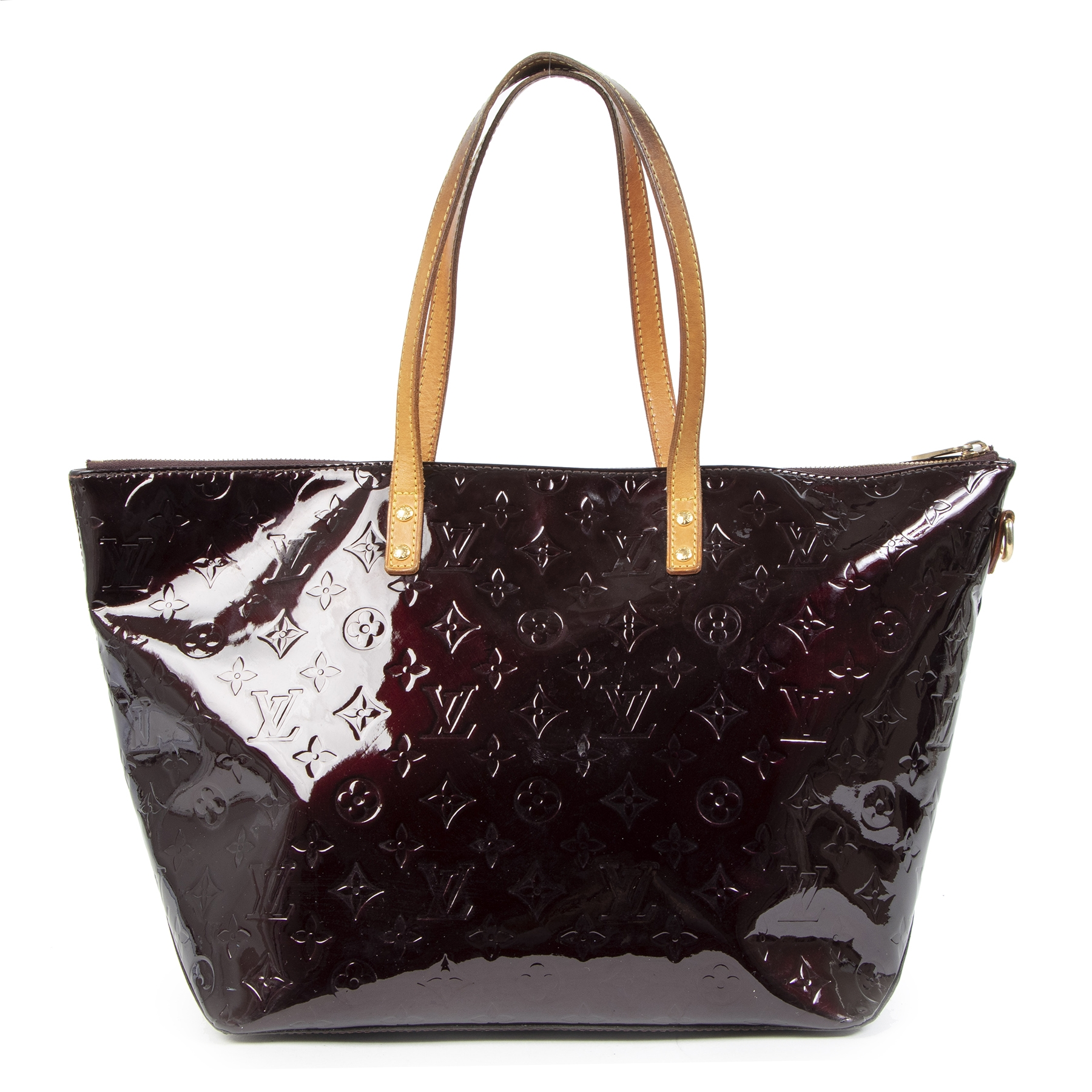 Authentic second-hand vintage Louis Vuitton Bellevue Vernis Amarante Tote buy online webshop LabelLOV