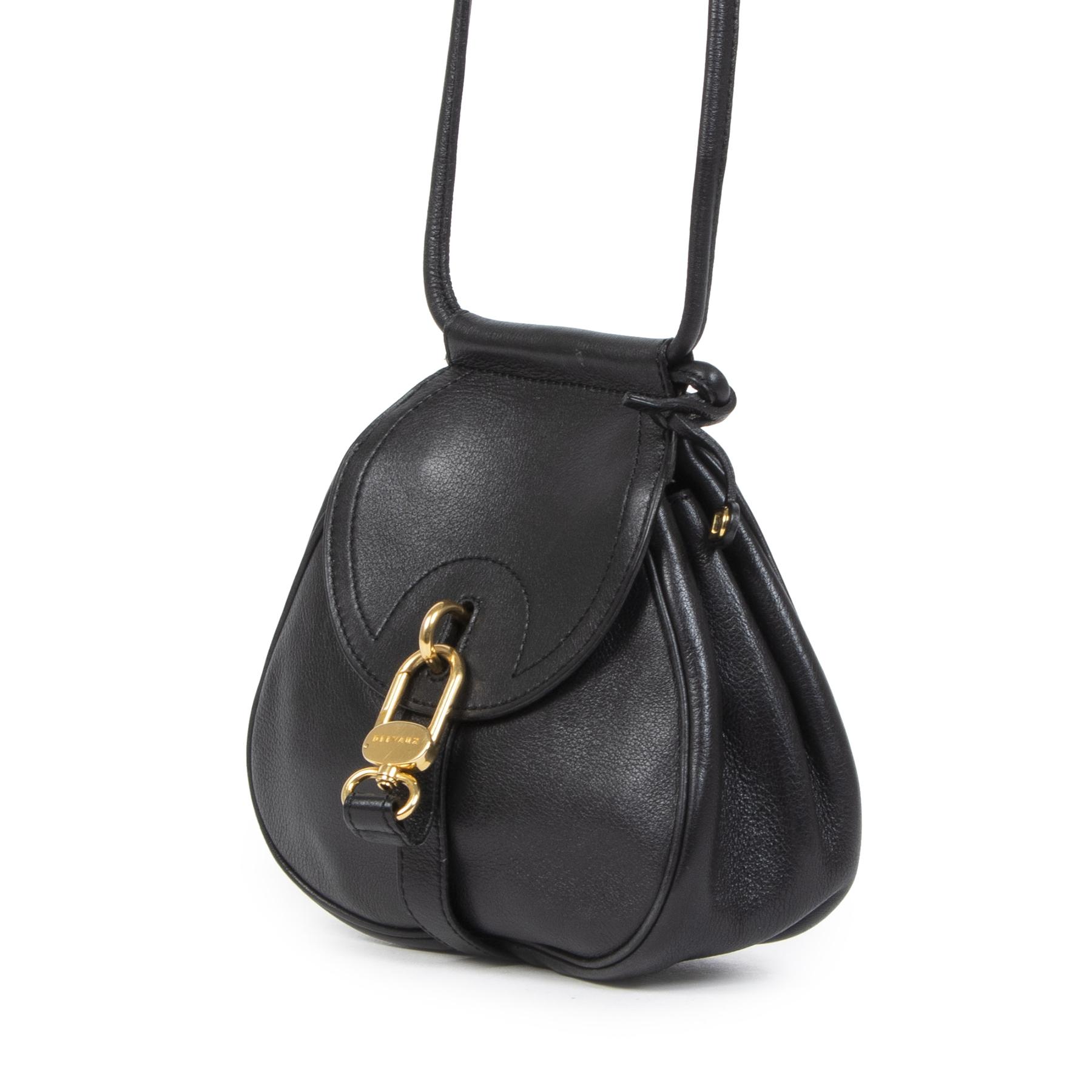 Authentieke tweedehands vintage Delvaux Black Mini Cerceau Crossbody Bag koop online webshop LabelLOV