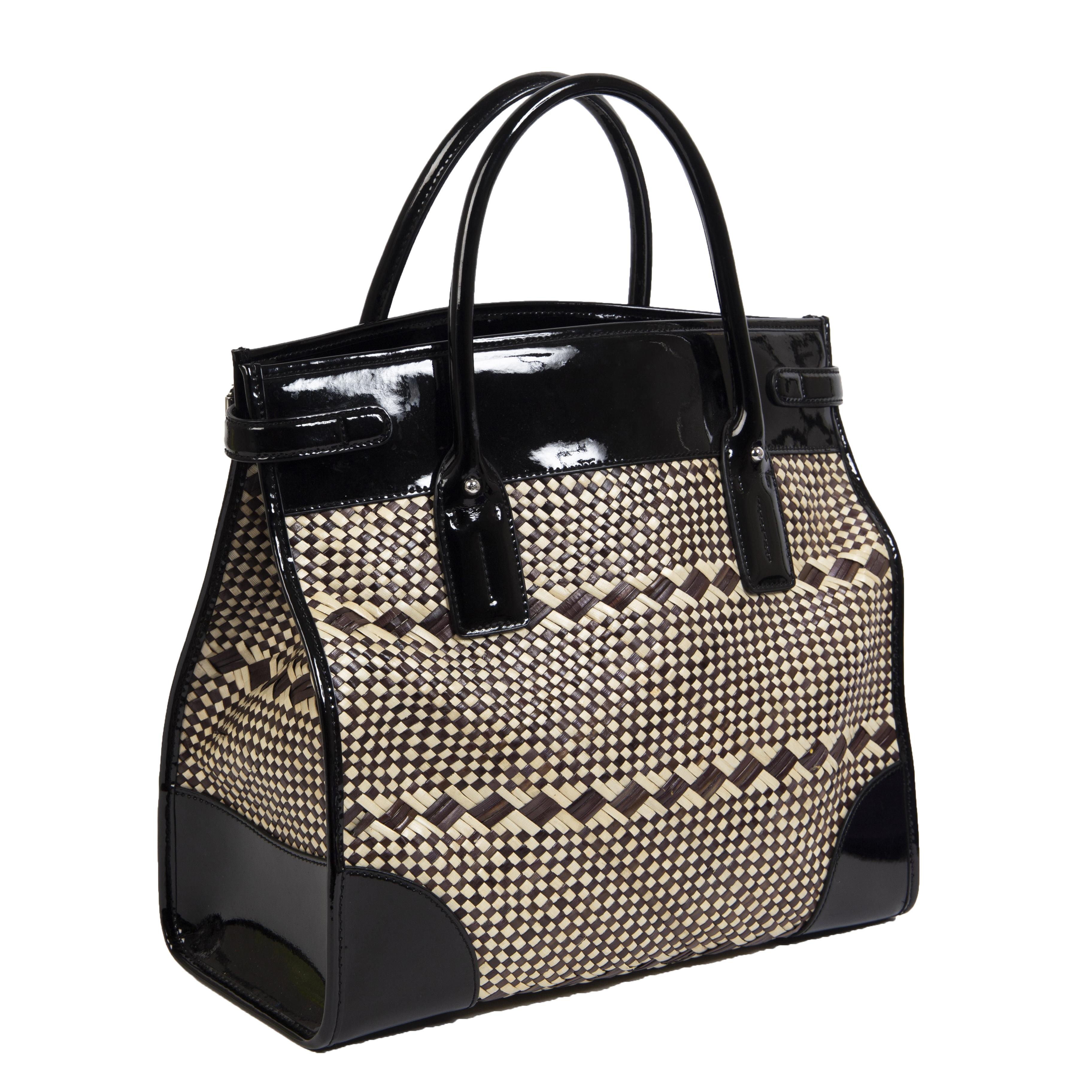 Authentieke Tweedehands Ralph Lauren Woven Black Patent Leather Bag juiste prijs veilig online shoppen luxe merken webshop winkelen Antwerpen België mode fashion