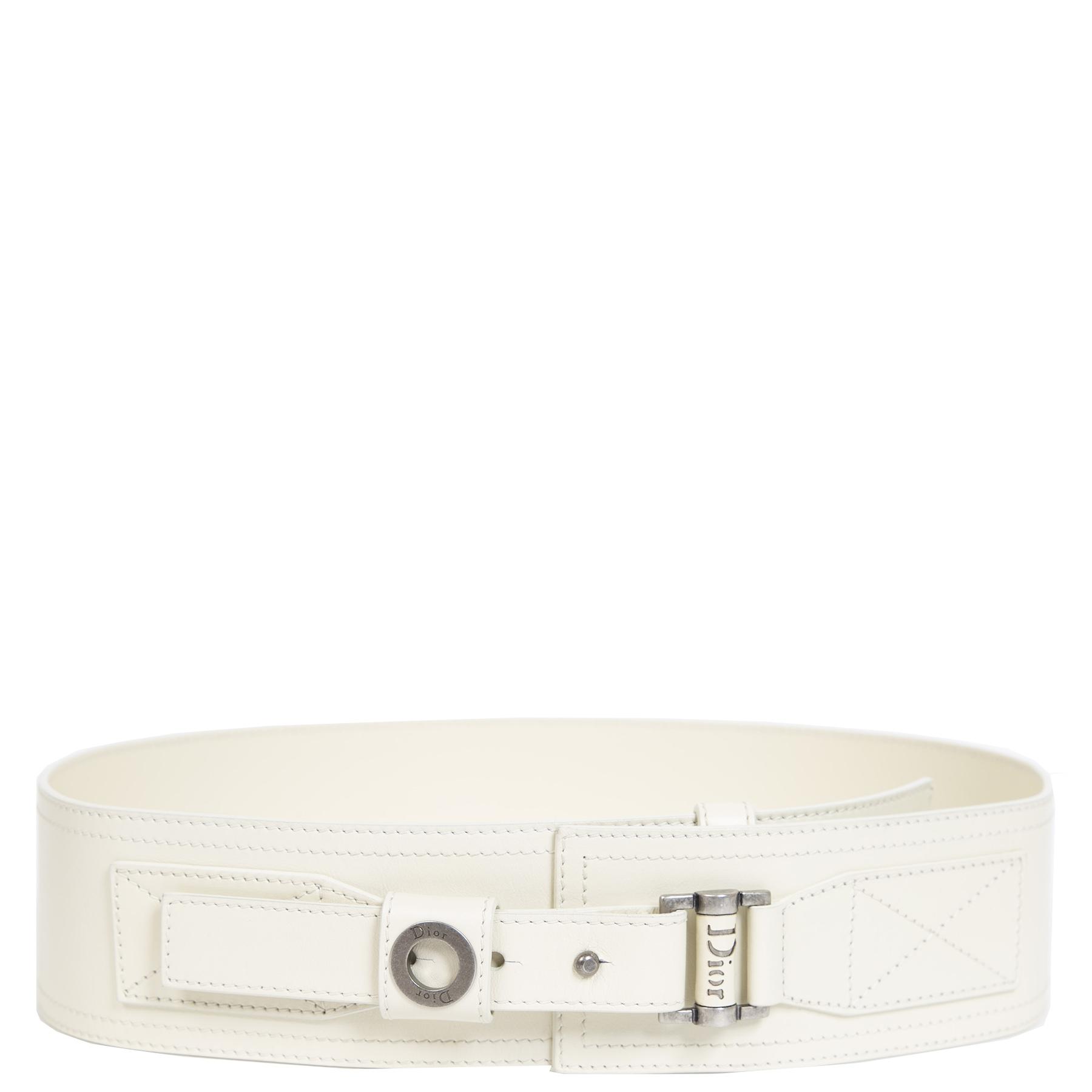 Authentieke Tweedehands Christian Dior Cream Wide Waist Belt juiste prijs veilig online shoppen luxe merken webshop winkelen Antwerpen België mode fashion