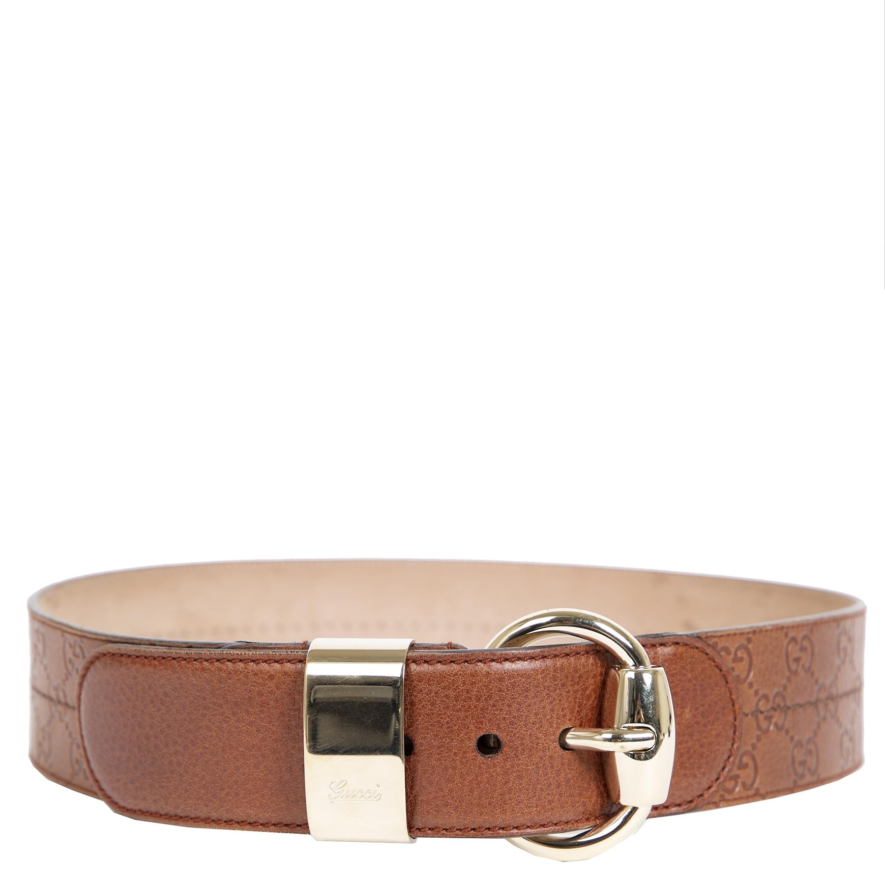 Authentieke Tweedehands Gucci Brown Leather Belt juiste prijs veilig online shoppen luxe merken webshop winkelen Antwerpen België mode fashion