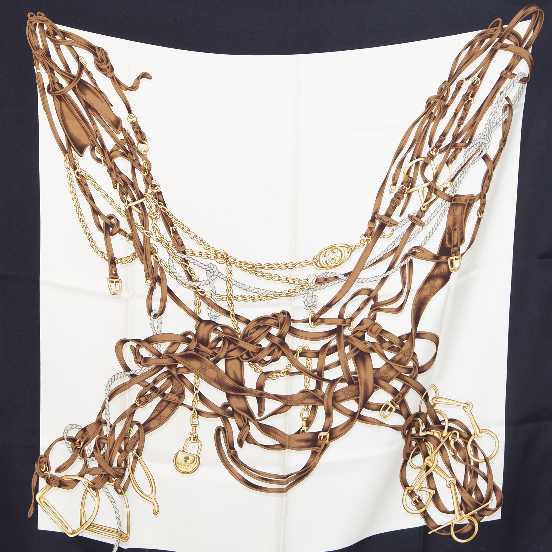 Authentieke Tweedehands Gucci Equestrian Style Scarf juiste prijs veilig online shoppen luxe merken webshop winkelen Antwerpen België mode fashion