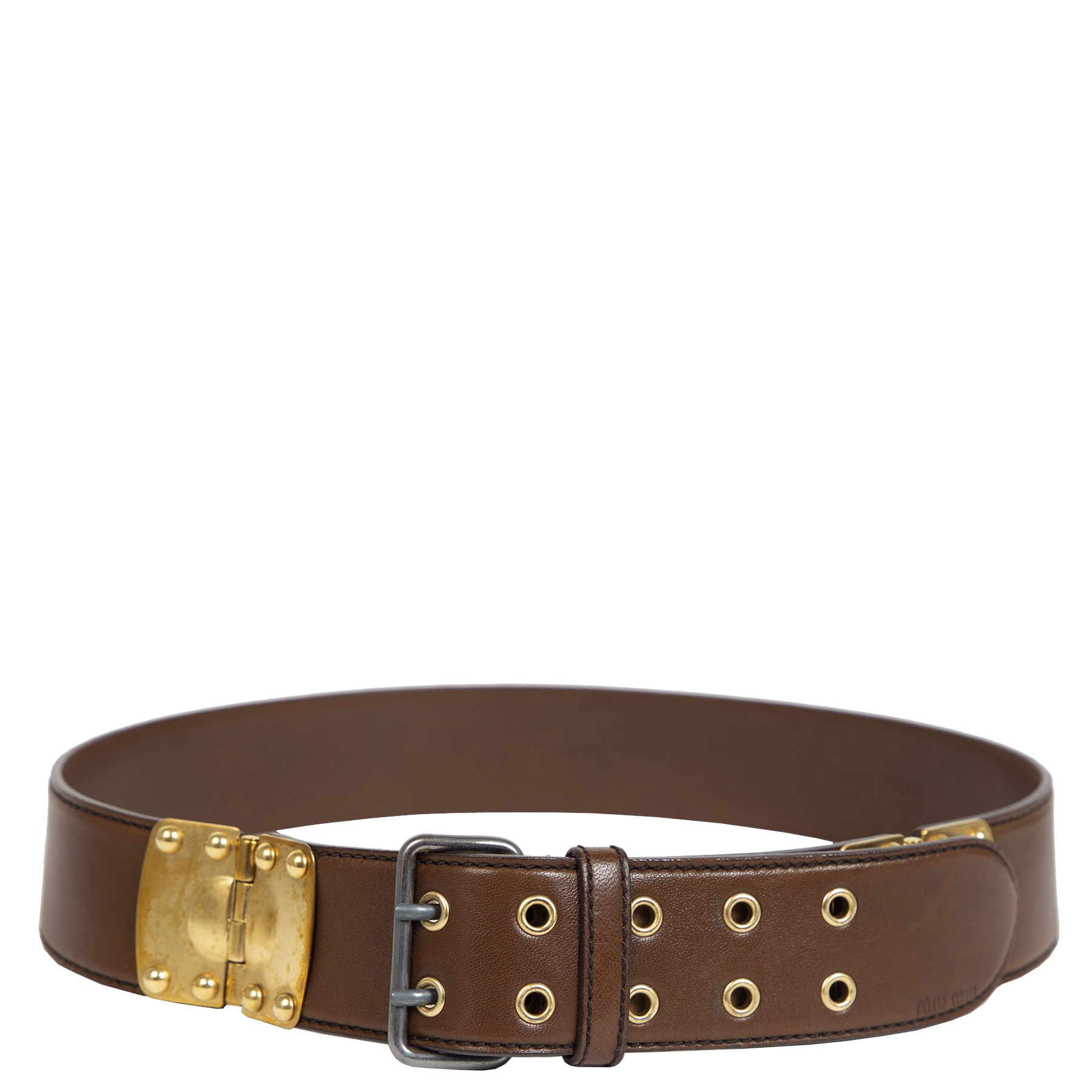 Authentieke Tweedehands Miu Miu Brown Leather Gold Hardware Belt - Size 80 juiste prijs veilig online shoppen luxe merken webshop winkelen Antwerpen België mode fashion