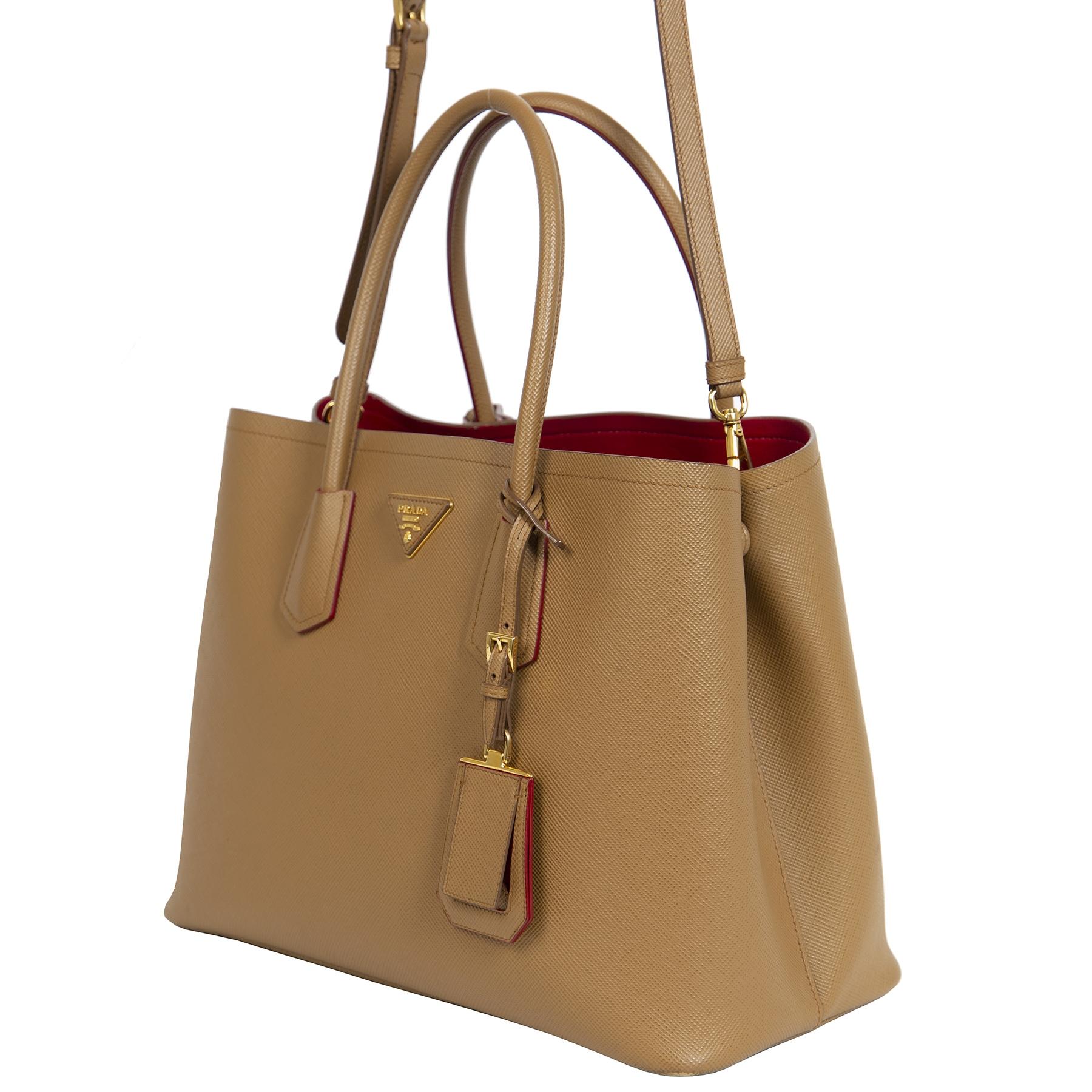 Authentieke Tweedehands Prada Saffiano Leather Double Medium Tote Bag juiste prijs veilig online shoppen luxe merken webshop winkelen Antwerpen België mode fashion
