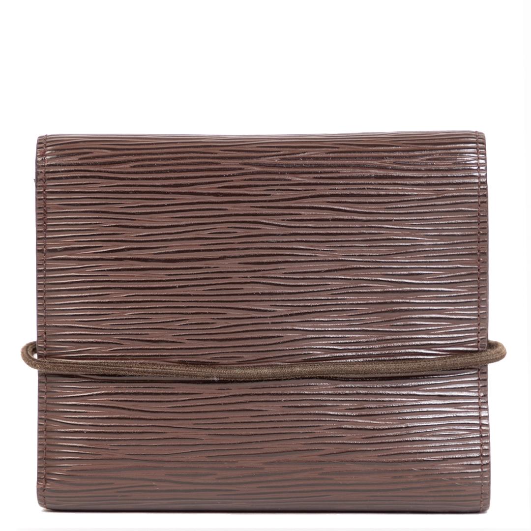Authentieke Tweedehands Louis Vuitton Moka Epi Leather Wallet juiste prijs veilig online shoppen luxe merken webshop winkelen Antwerpen België mode fashion