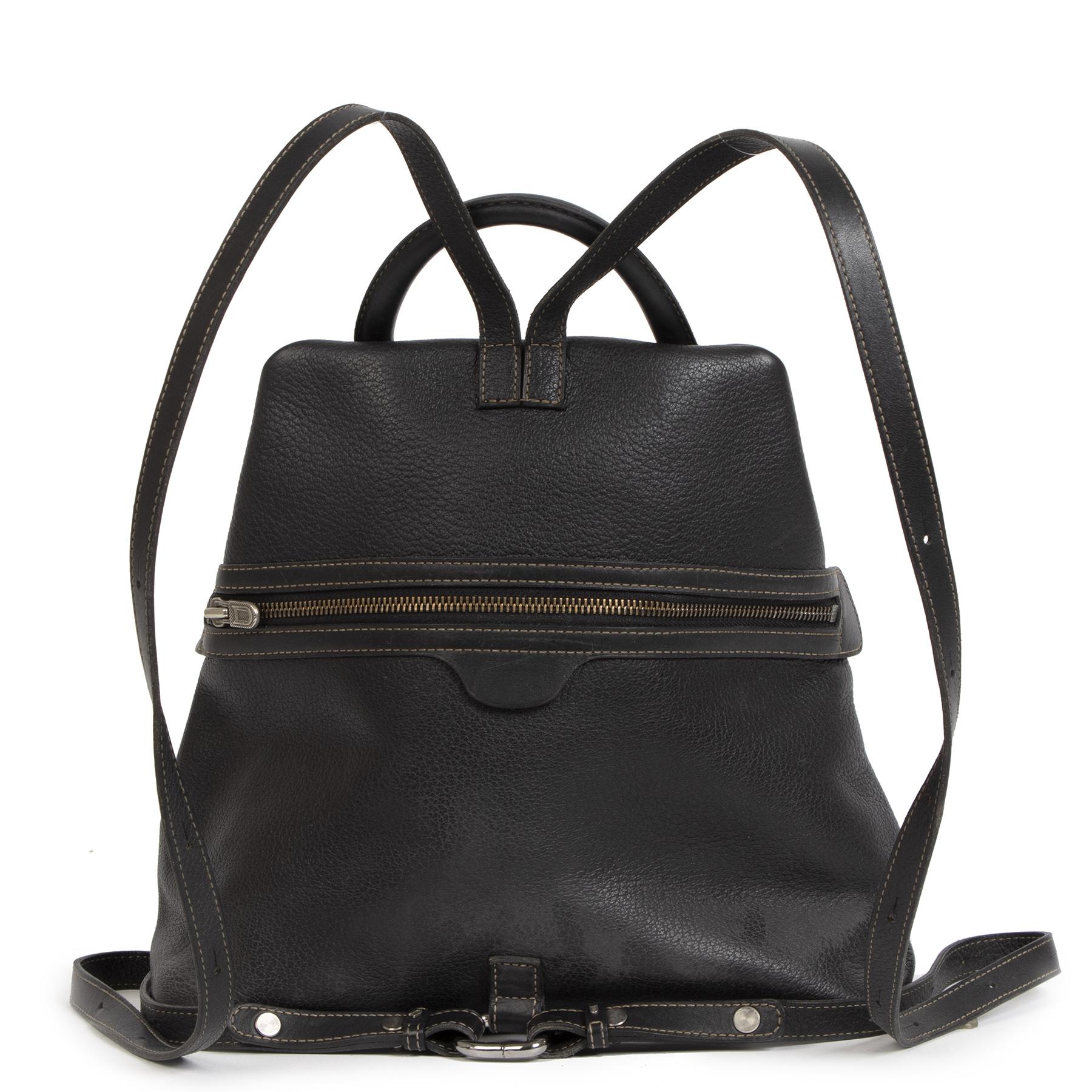 Authentieke Tweedehands Deux de Delvaux Black Leather Backpack juiste prijs veilig online shoppen luxe merken webshop winkelen Antwerpen België mode fashion