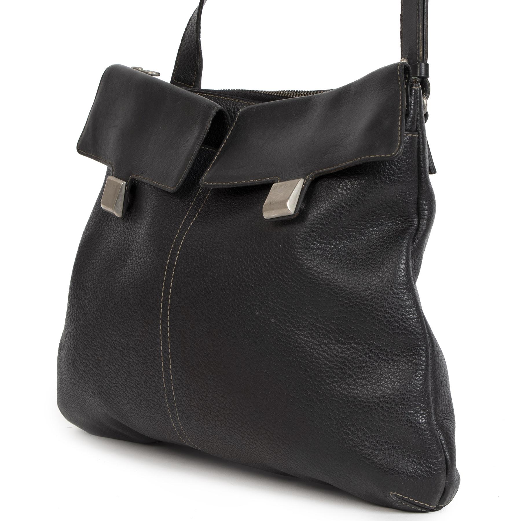 Authentieke Tweedehands Deux de Delvaux Black Leather Crossbody Bag juiste prijs veilig online shoppen luxe merken webshop winkelen Antwerpen België mode fashion