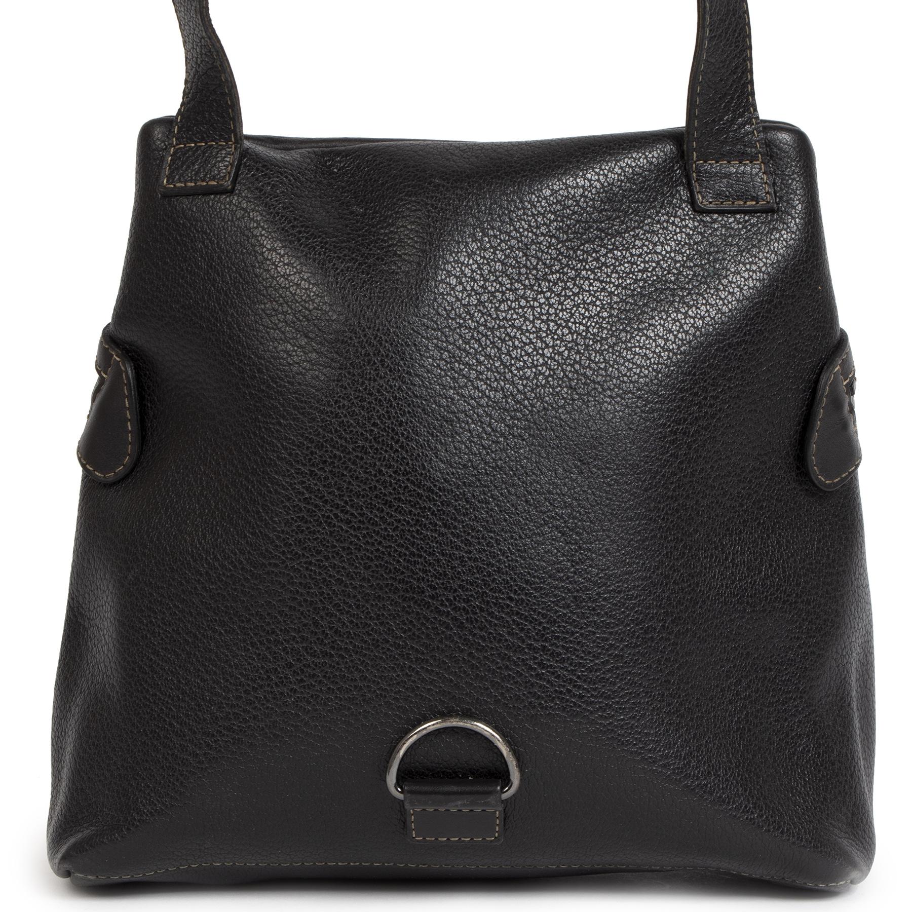 Authentieke Tweedehands Deux de Delvaux Black 2-in-1 Bag juiste prijs veilig online shoppen luxe merken webshop winkelen Antwerpen België mode fashion