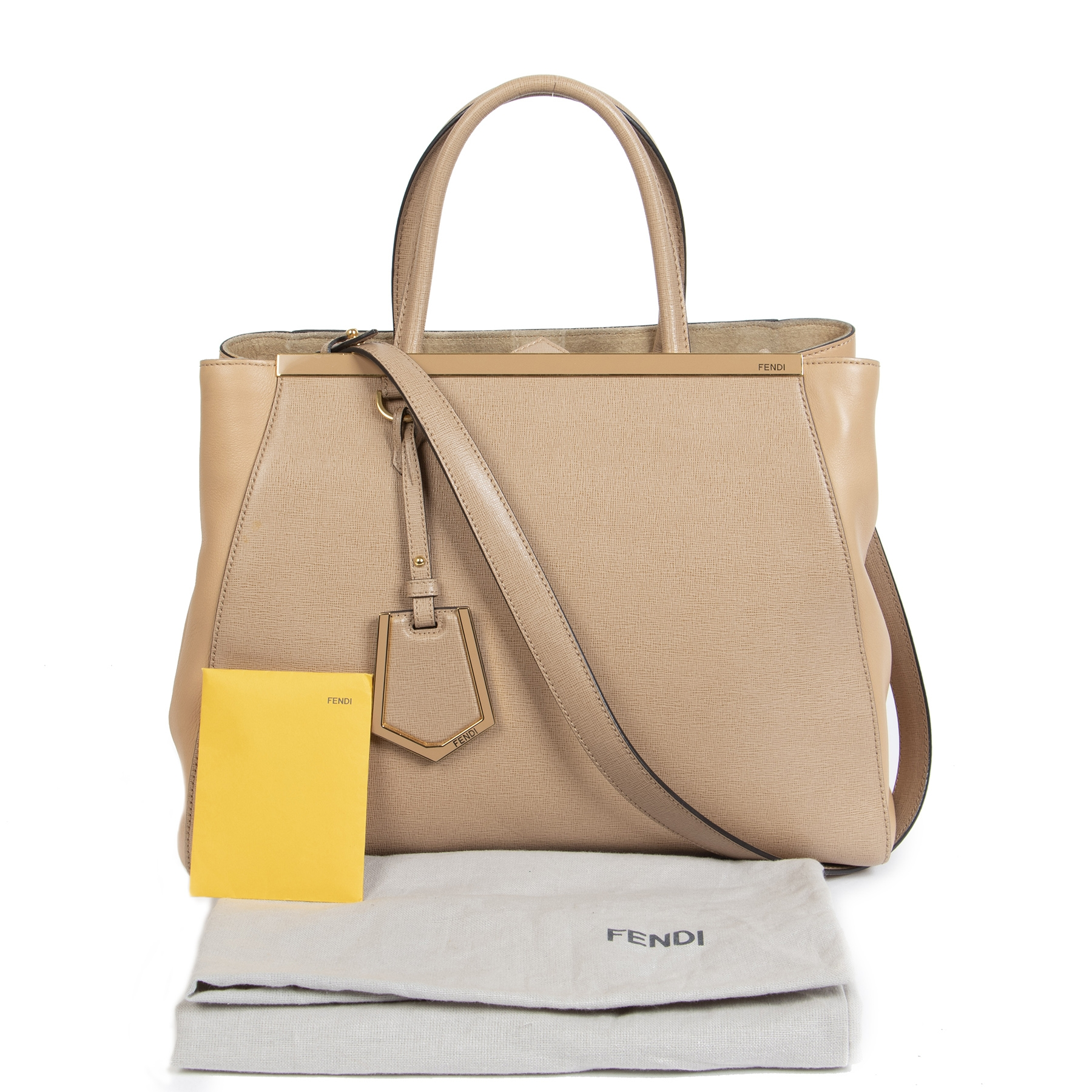 Fendi 2Jours Vitello Elite 'Make-Up' Beige Shoulder Bag