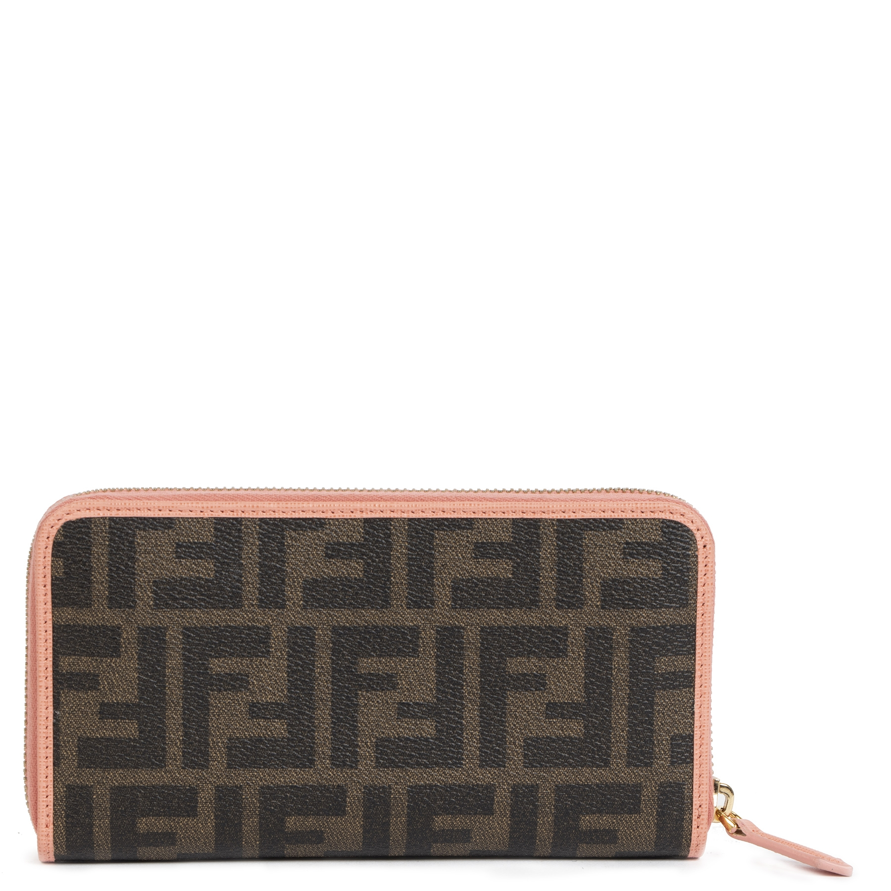 Fendi Brown/Pink Zippy Zucca Wallet for the best price at Labellov secondhand luxury in Antwerp