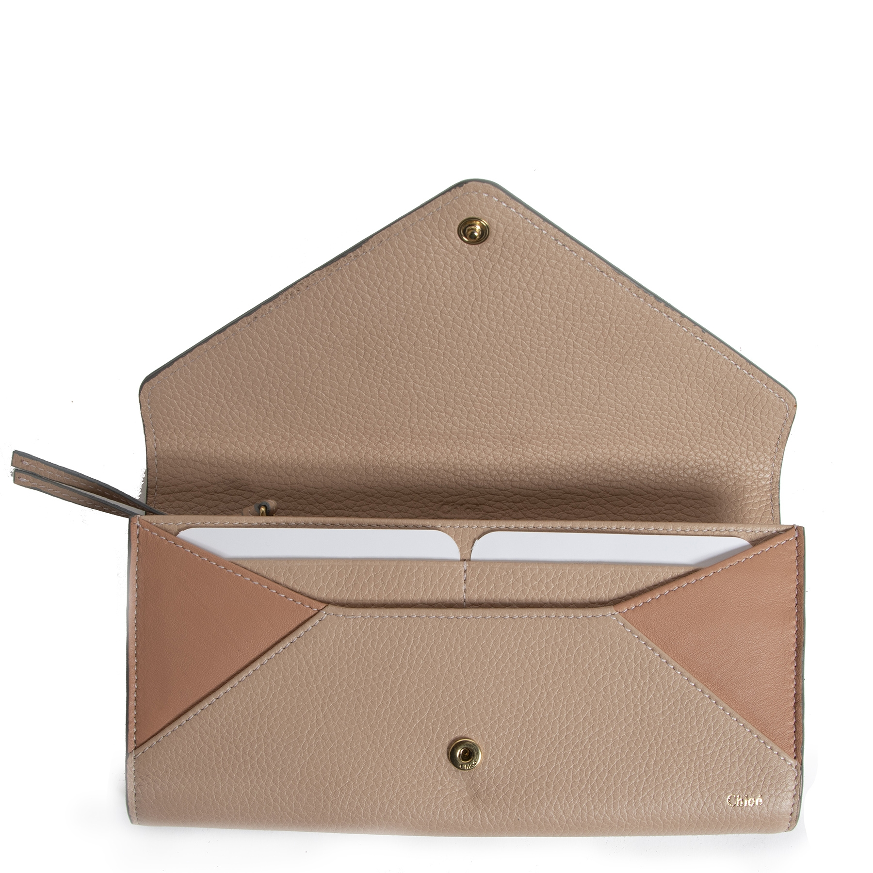 Chloé Nude Leather Envelope Wallet
