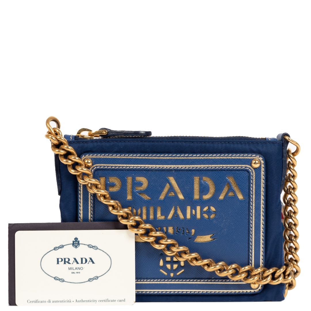 Buy and sell your preloved and brand new Prada Blue Tessuto Oro Chain Strap Bag  for the best price