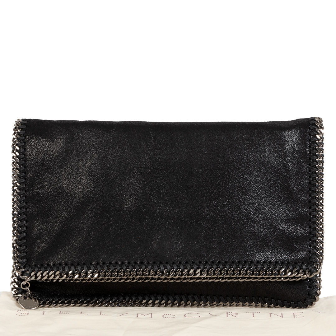 Stella McCartney Shaggy Deer Falabella Fold Over Clutch Black