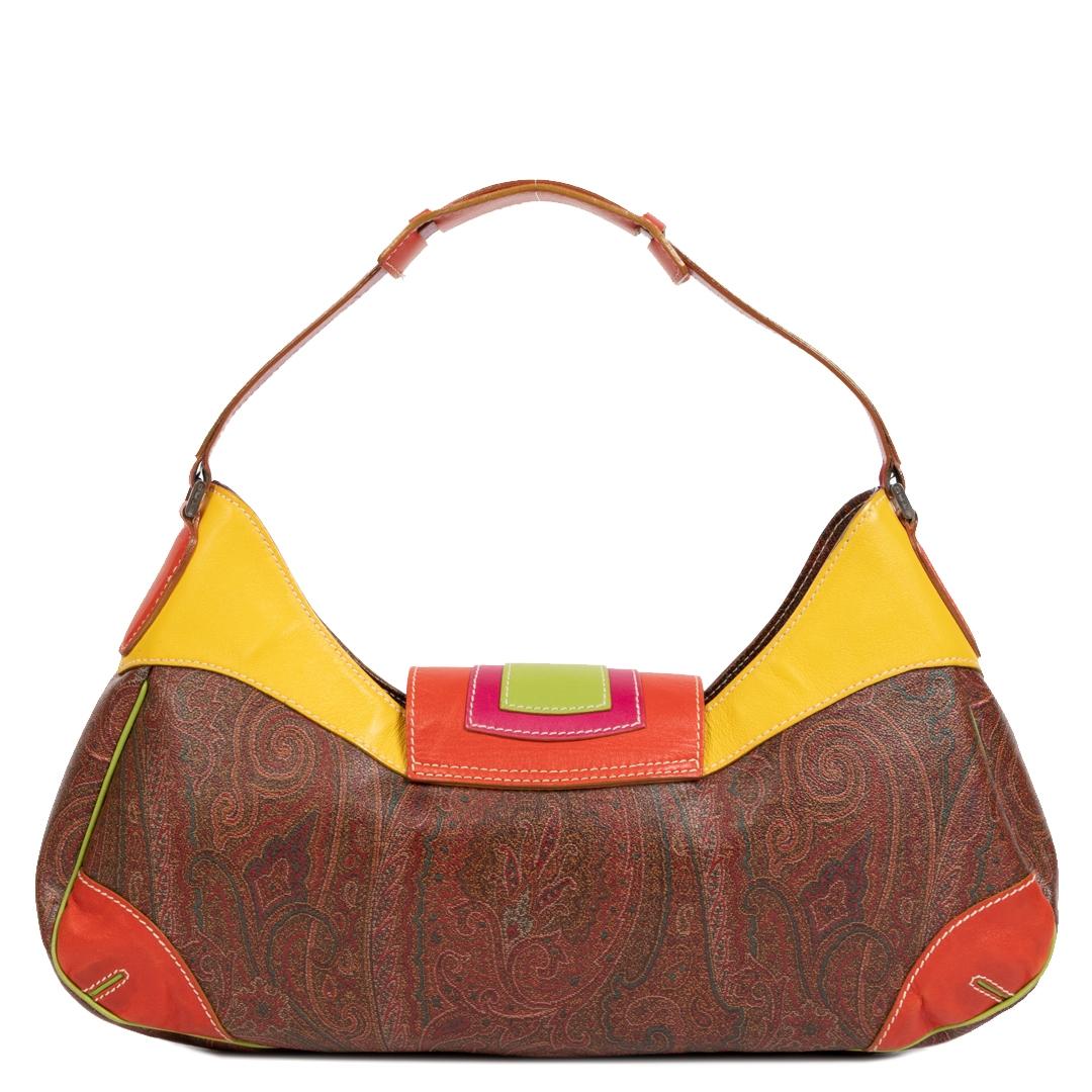 Authentieke Tweedehands Etro Multicolor Paisley Print Leather Shoulder Bag juiste prijs veilig online shoppen luxe merken webshop winkelen Antwerpen België mode fashion