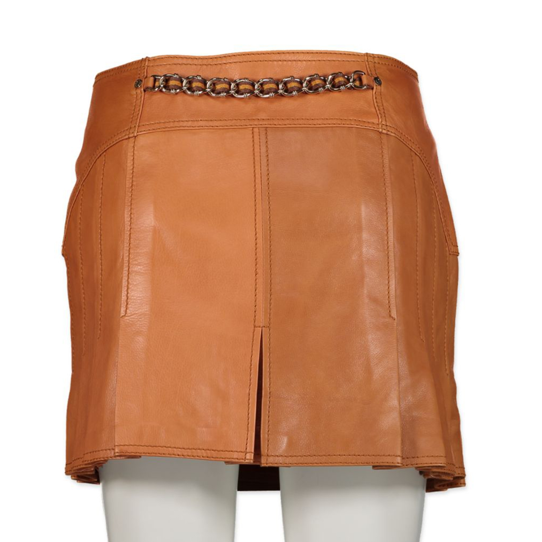 Gucci Cognac Pleated Leather Wrap Skirt - size 40