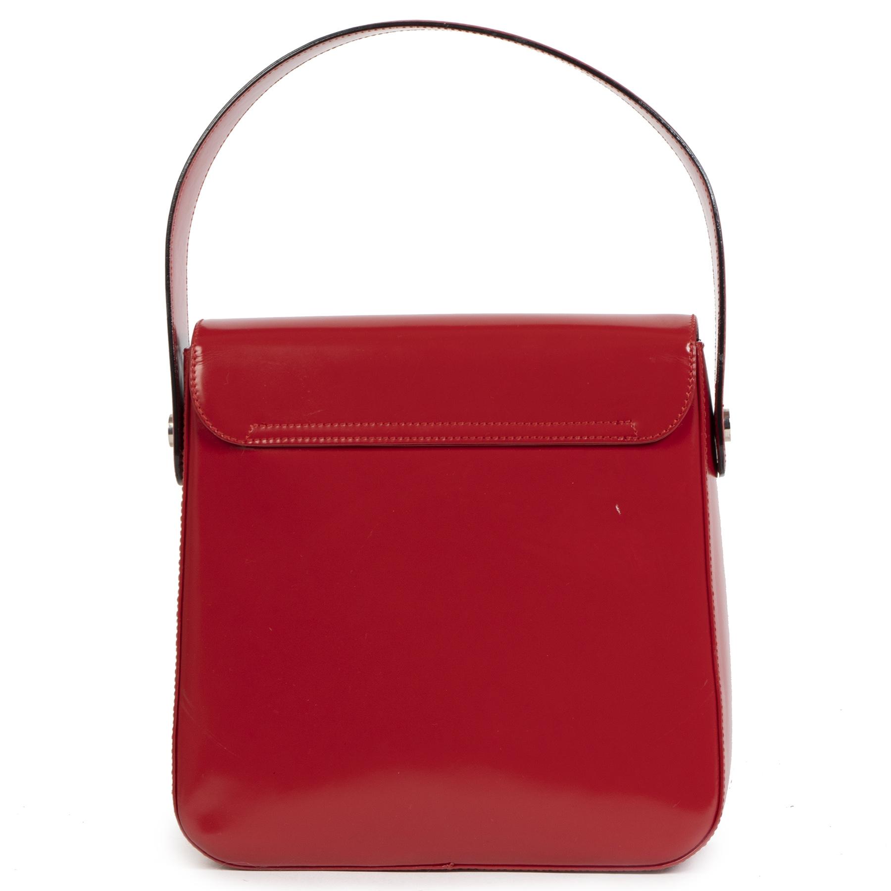 Authentieke Tweedehands Salvatore Ferragamo Red Leather Top Handle Bag juiste prijs veilig online shoppen luxe merken webshop winkelen Antwerpen België mode fashion