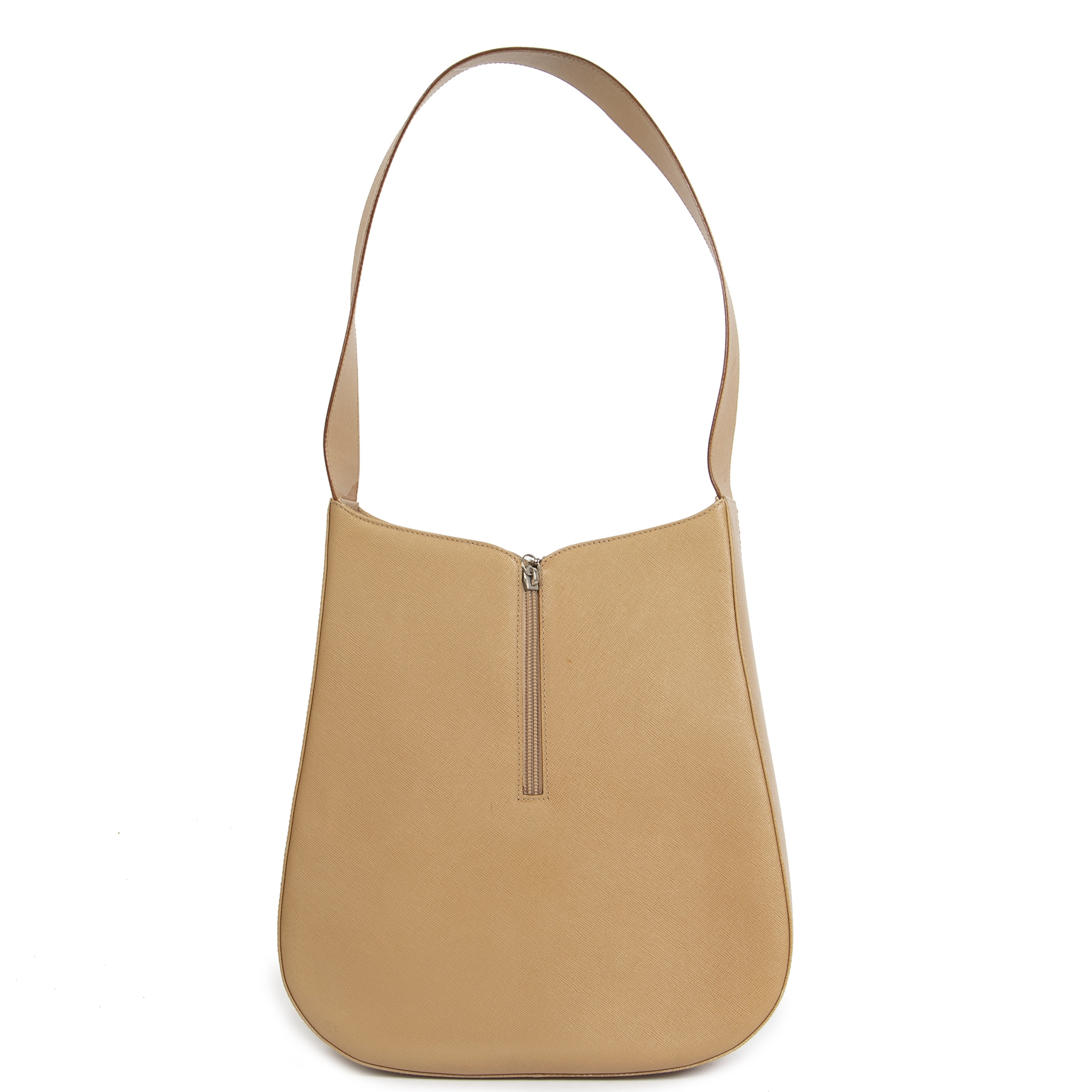 Authentic second hand Salvatore Ferragamo shoulder bag beige leather right price safe online shopping LabelLOV luxury webshop shopping Antwerp Belgium Fashion