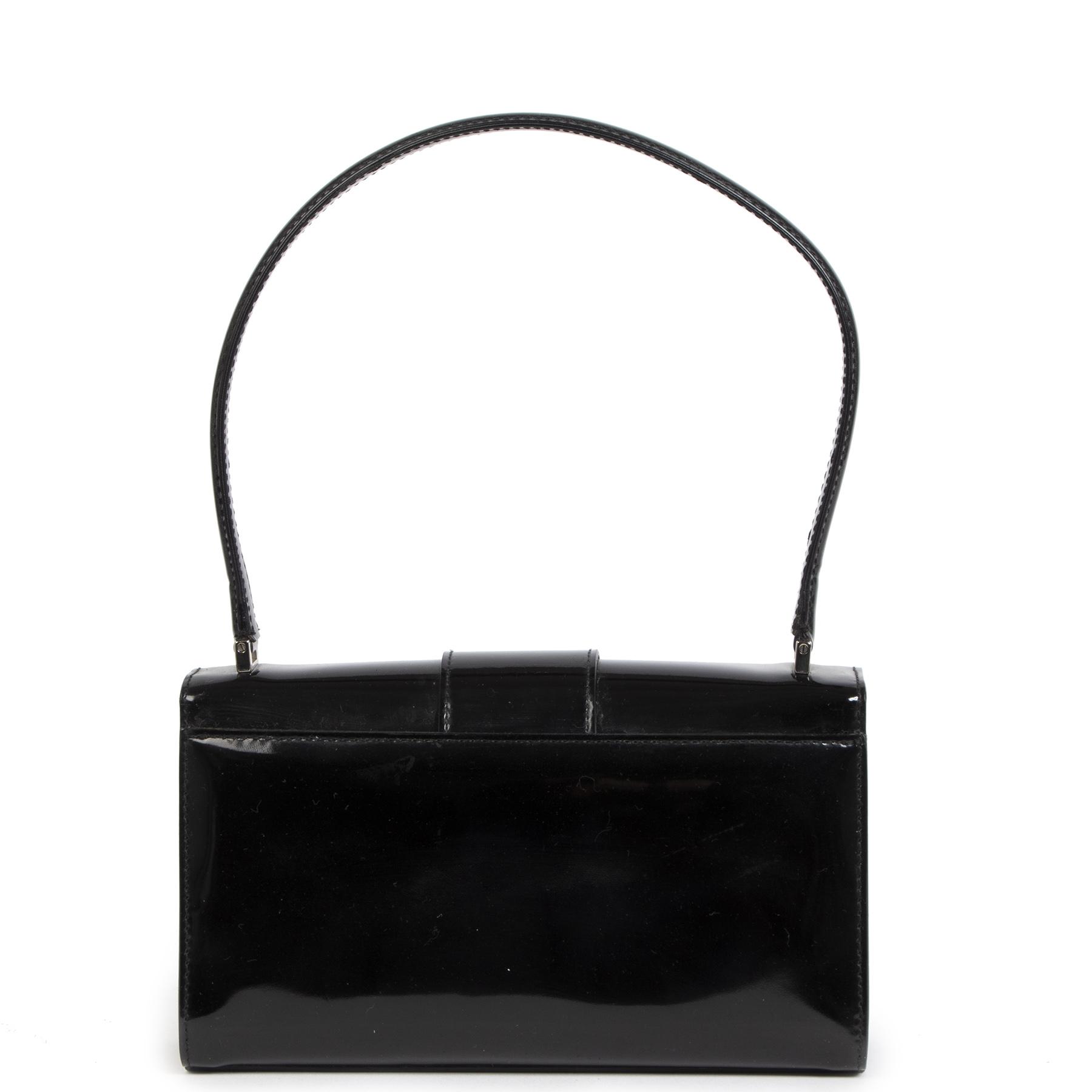 Authentieke Tweedehands Salvatore Ferragamo Black Patent Leather Bag juiste prijs veilig online shoppen luxe merken webshop winkelen Antwerpen België mode fashion