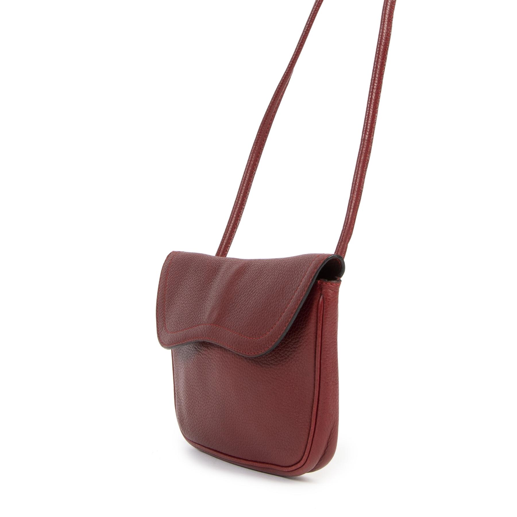 Authentieke Tweedehands Delvaux Red Leather Crossbody juiste prijs veilig online shoppen luxe merken webshop winkelen Antwerpen België mode fashion