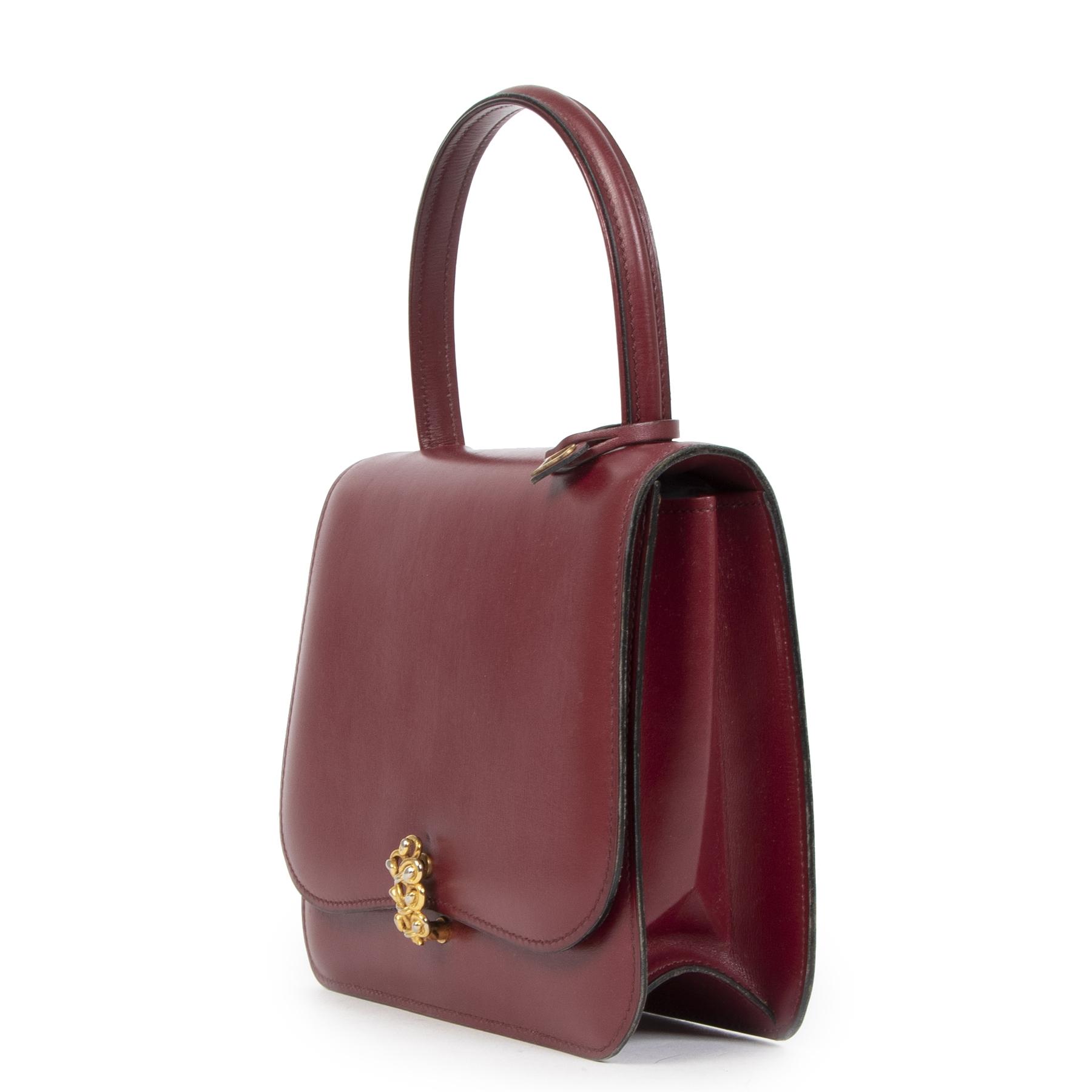 Authentieke Tweedehands Delvaux Vintage Burgundy Top Handle Bag juiste prijs veilig online shoppen luxe merken webshop winkelen Antwerpen België mode fashion