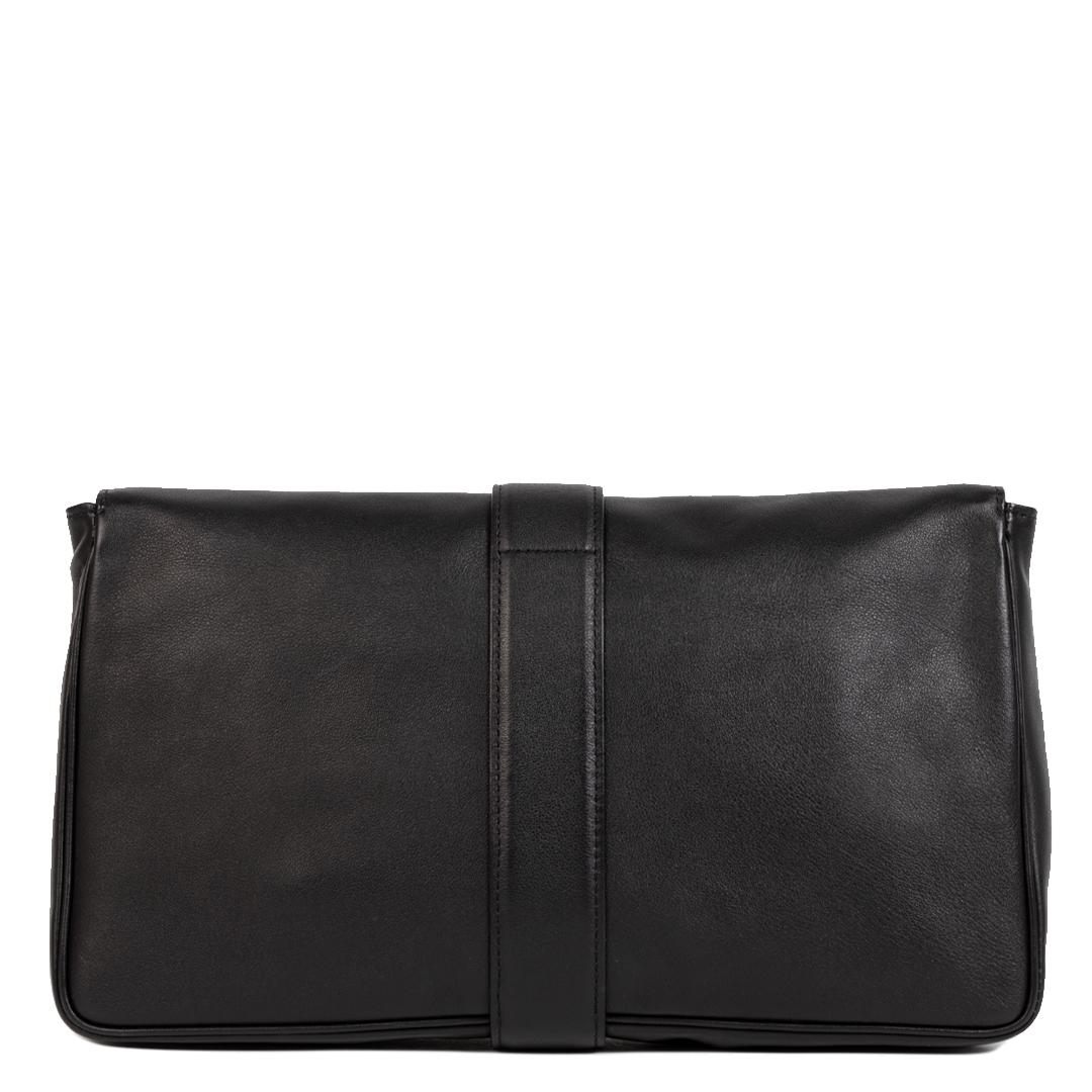 Authentieke Tweedehands Delvaux Black Givry Leather Pochette Clutch juiste prijs veilig online shoppen luxe merken webshop winkelen Antwerpen België mode fashion