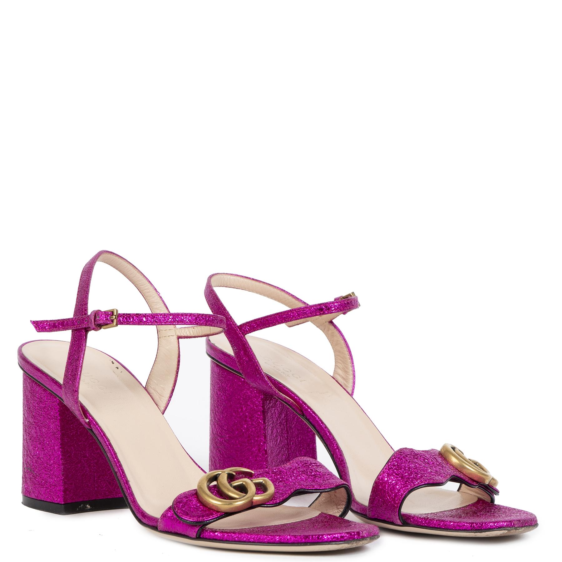 Authentieke Tweedehands Gucci Purple Metallic Mid Heel leather Sandal - Size 38 1/2 juiste prijs veilig online shoppen luxe merken webshop winkelen Antwerpen België mode fashion