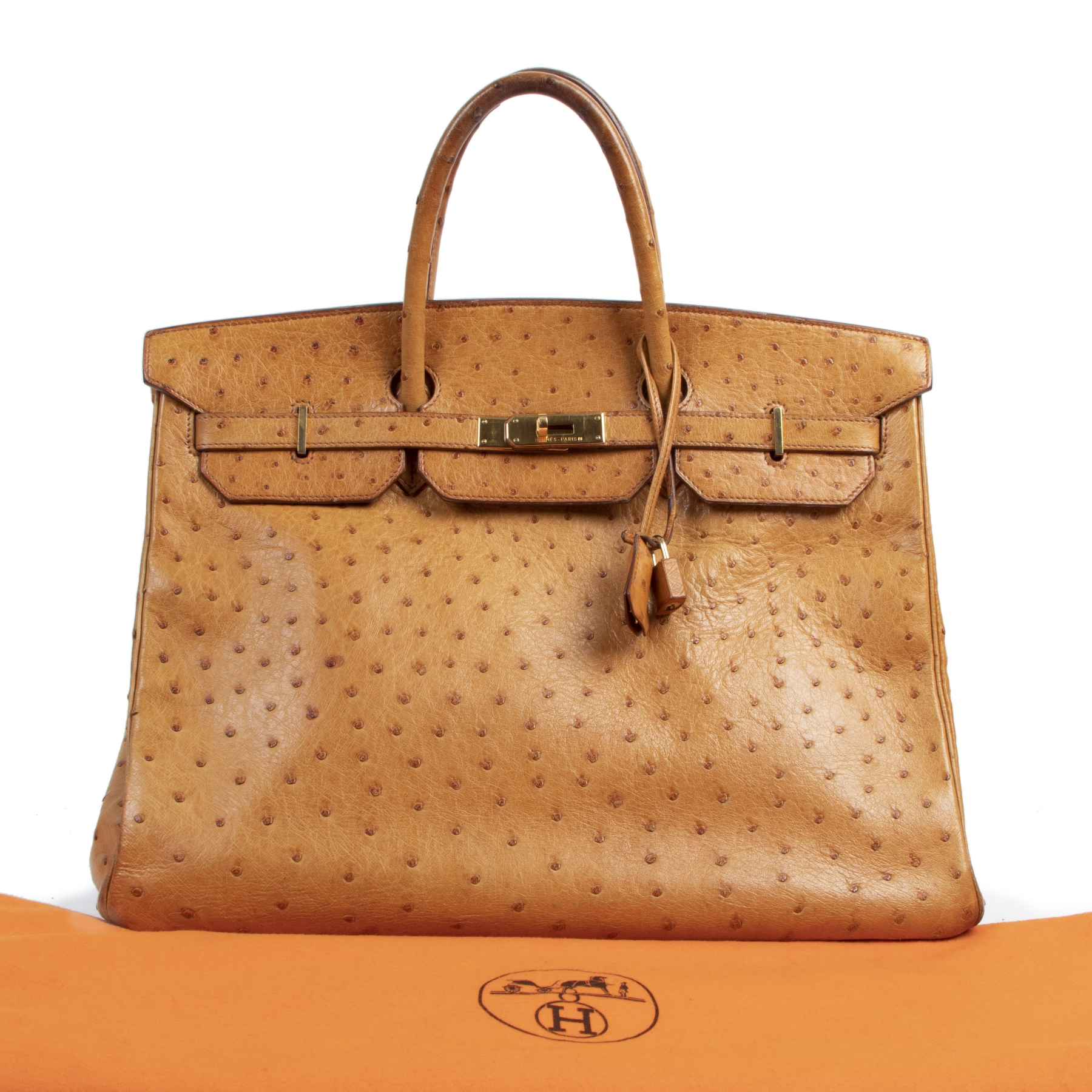 Hermès Birkin 40 Cognac Ostrich GHW for the best price at Labellov secondhand luxury