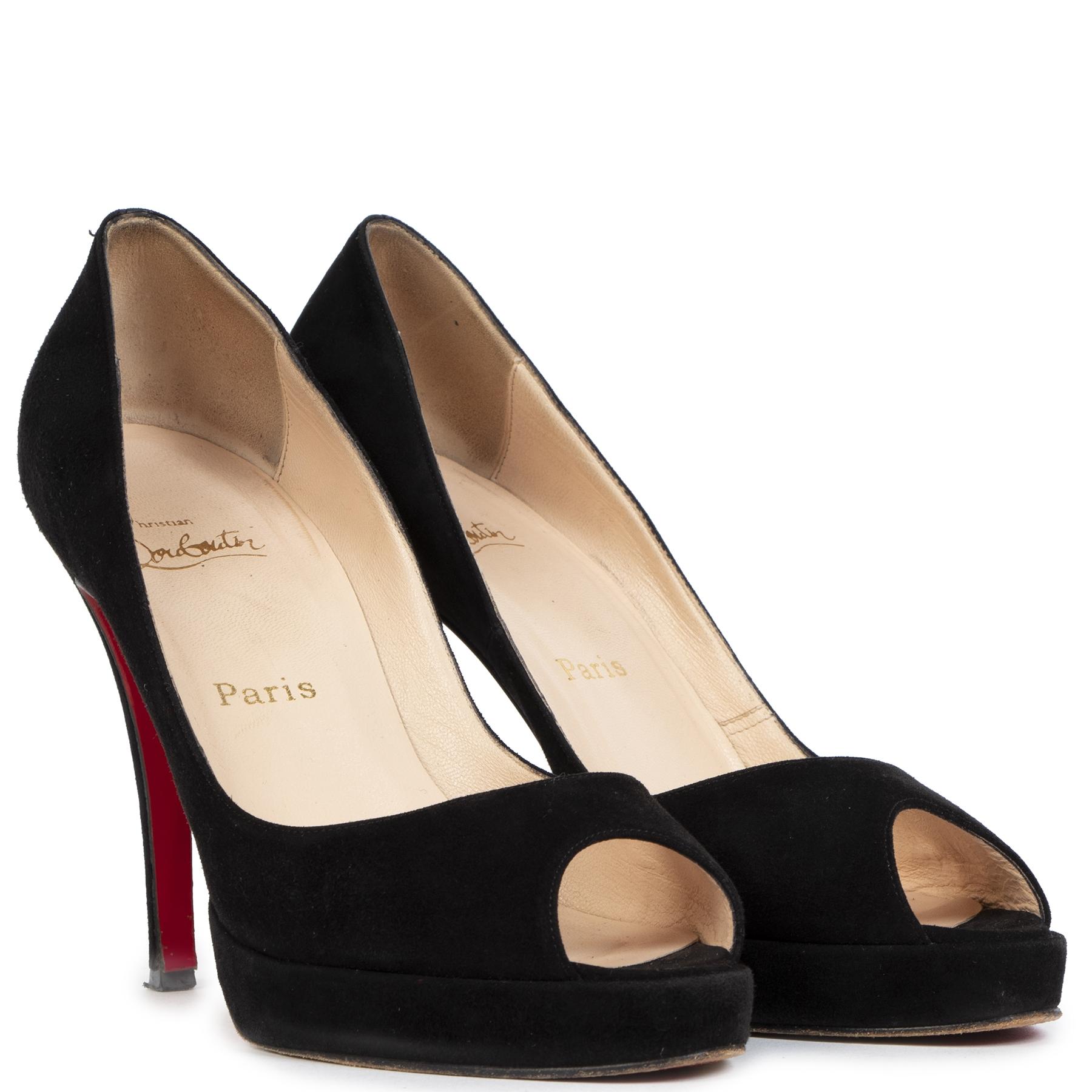 Authentieke Tweedehands Christian Louboutin Black Suede Peep Toe Pumps - size 39 1/2 juiste prijs veilig online shoppen luxe merken webshop winkelen Antwerpen België mode fashion