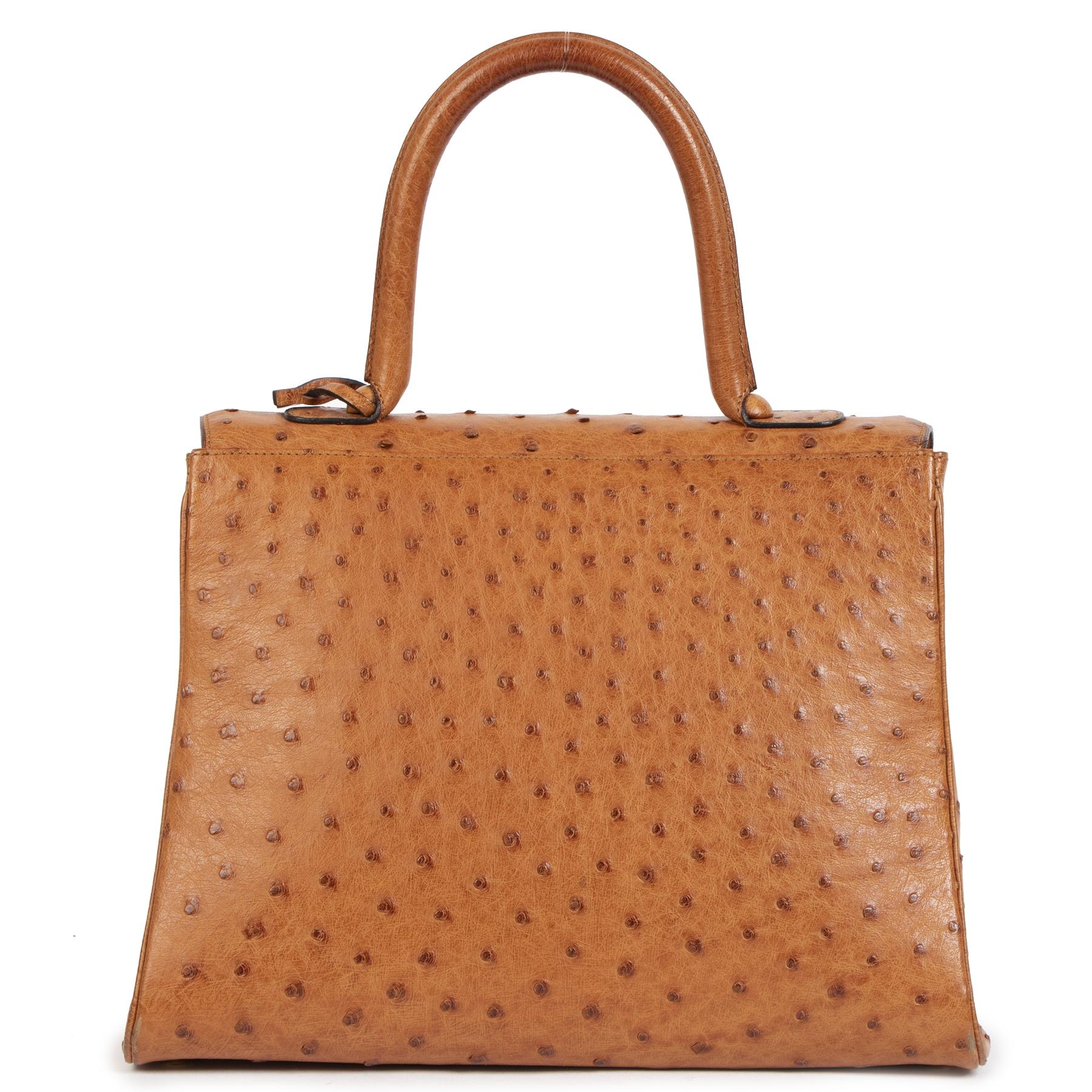 Authentieke Tweedehands Delvaux Brillant MM Ostrich Bag juiste prijs veilig online shoppen luxe merken webshop winkelen Antwerpen België mode fashion