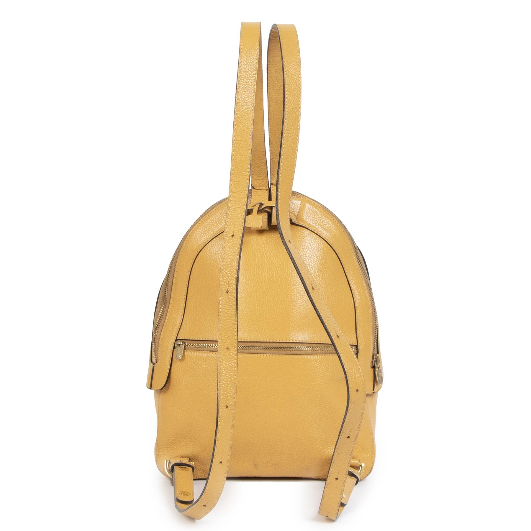 Authentieke Tweedehands Delvaux Ochre Yellow Azov Backpack juiste prijs veilig online shoppen luxe merken webshop winkelen Antwerpen België mode fashion