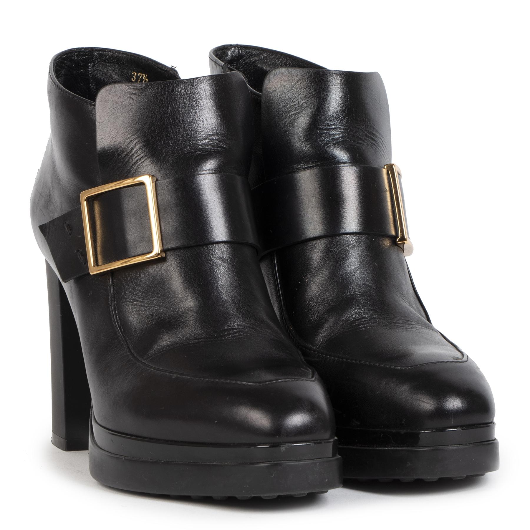 Authentieke tweedehands Tod's Black Ankle Boots - Size 37.5 juiste prijs veilig online winkelen LAbelLOV webshop luxe merken winkelen Antwerpen België mode fashion