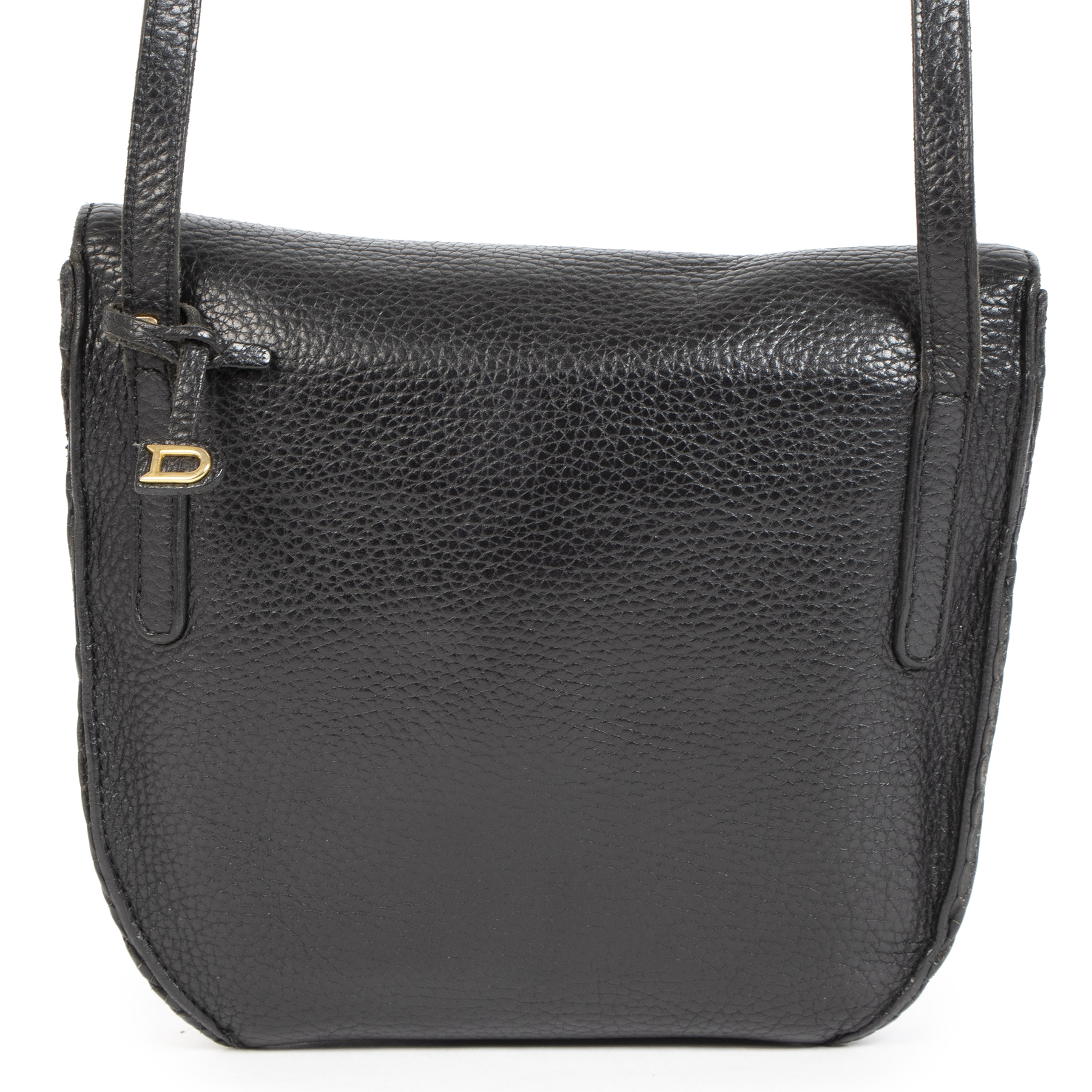 Authentic Delvaux Toile De Cuir Black Crossbody  secondhand at the right price  safe and secure online LabelLOV luxury brand Antwerp Belgium