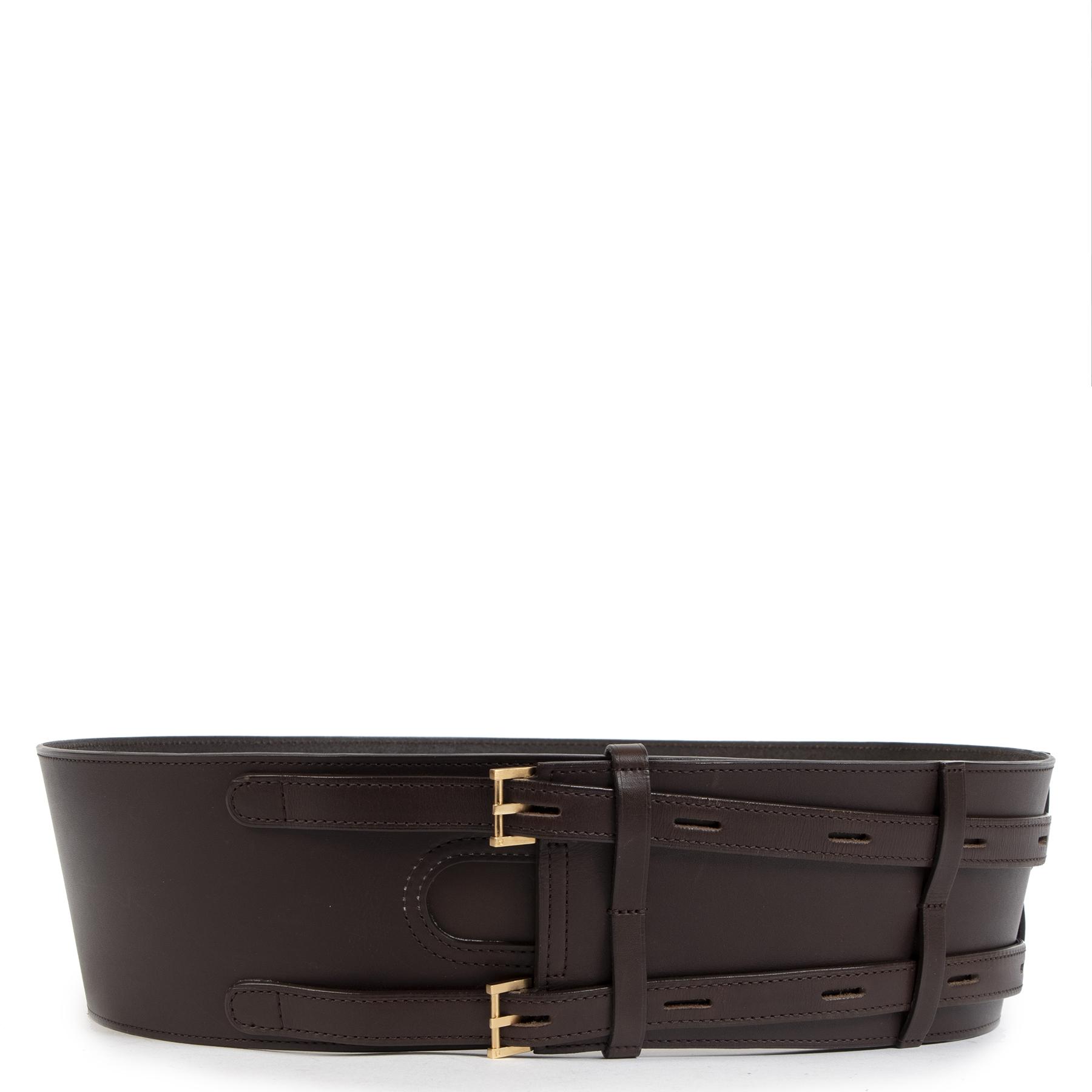 Delvaux Dark Brown Wide Leather Waist Belt kopen aan de beste prijs bij Labellov