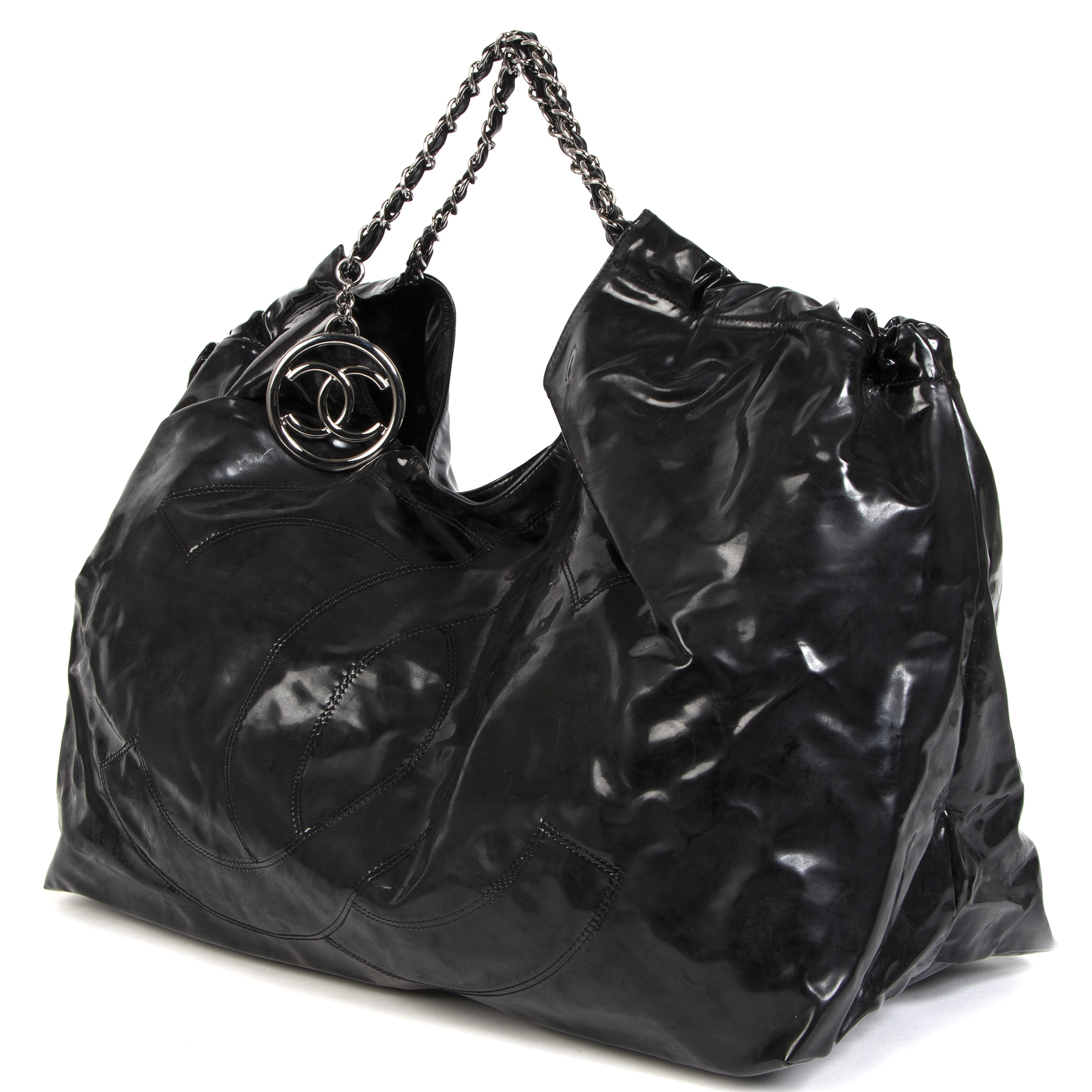 Chanel Black Patent Vinyl Coco Cabas XL Bag for the best price at Labellov