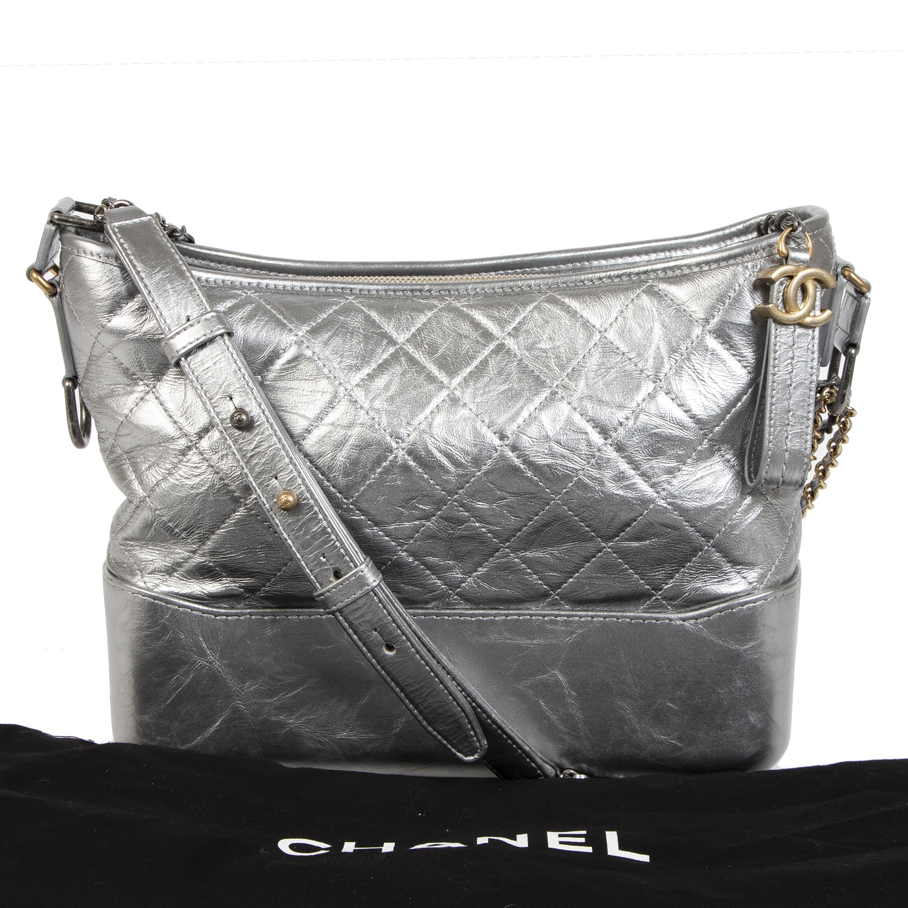 Chanel Gabrielle Silver Metallic Aged Calfskin Medium Hobo Bag